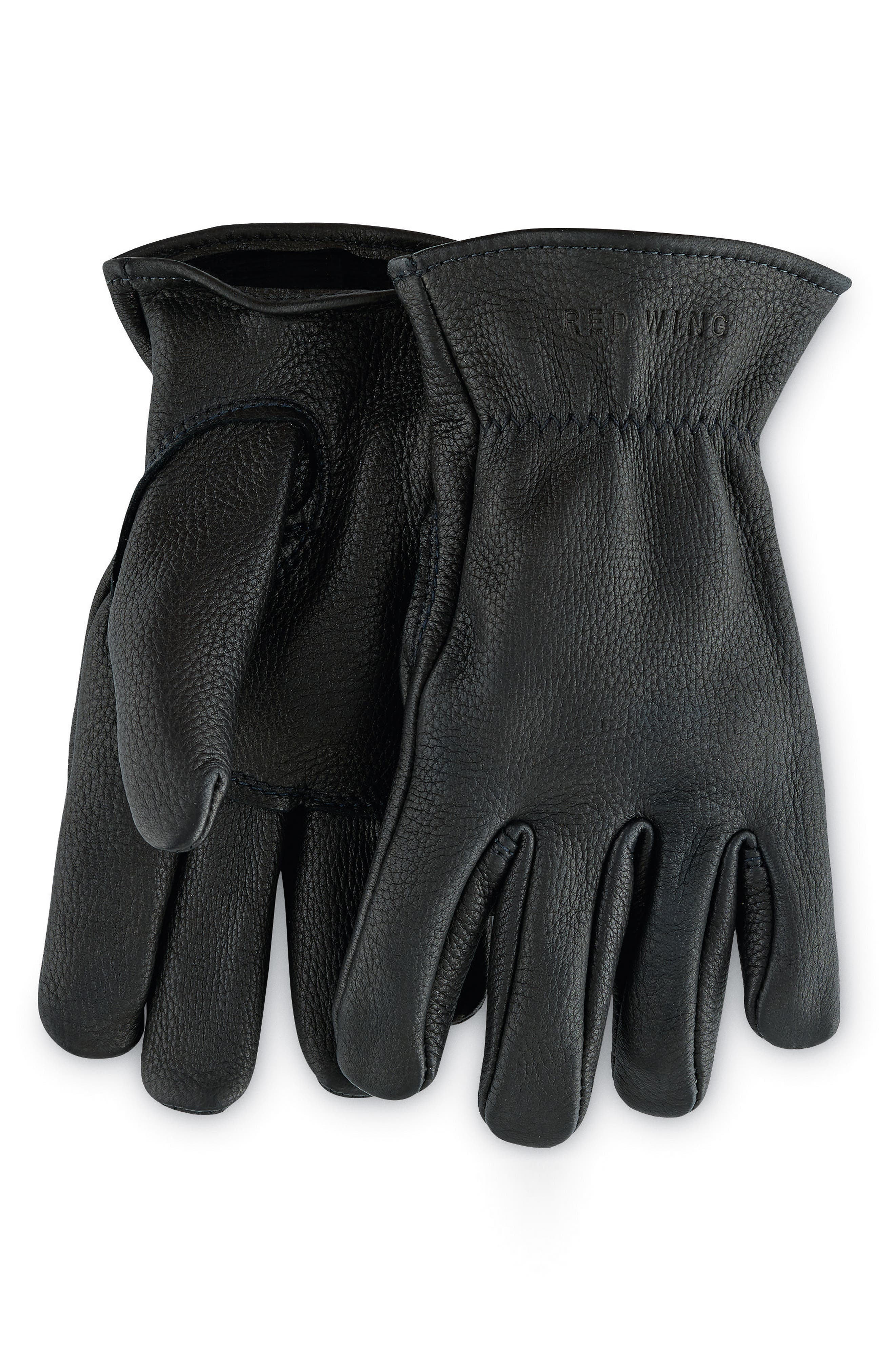 Unlined Leather Gloves,                         Main,                         color, BLACK