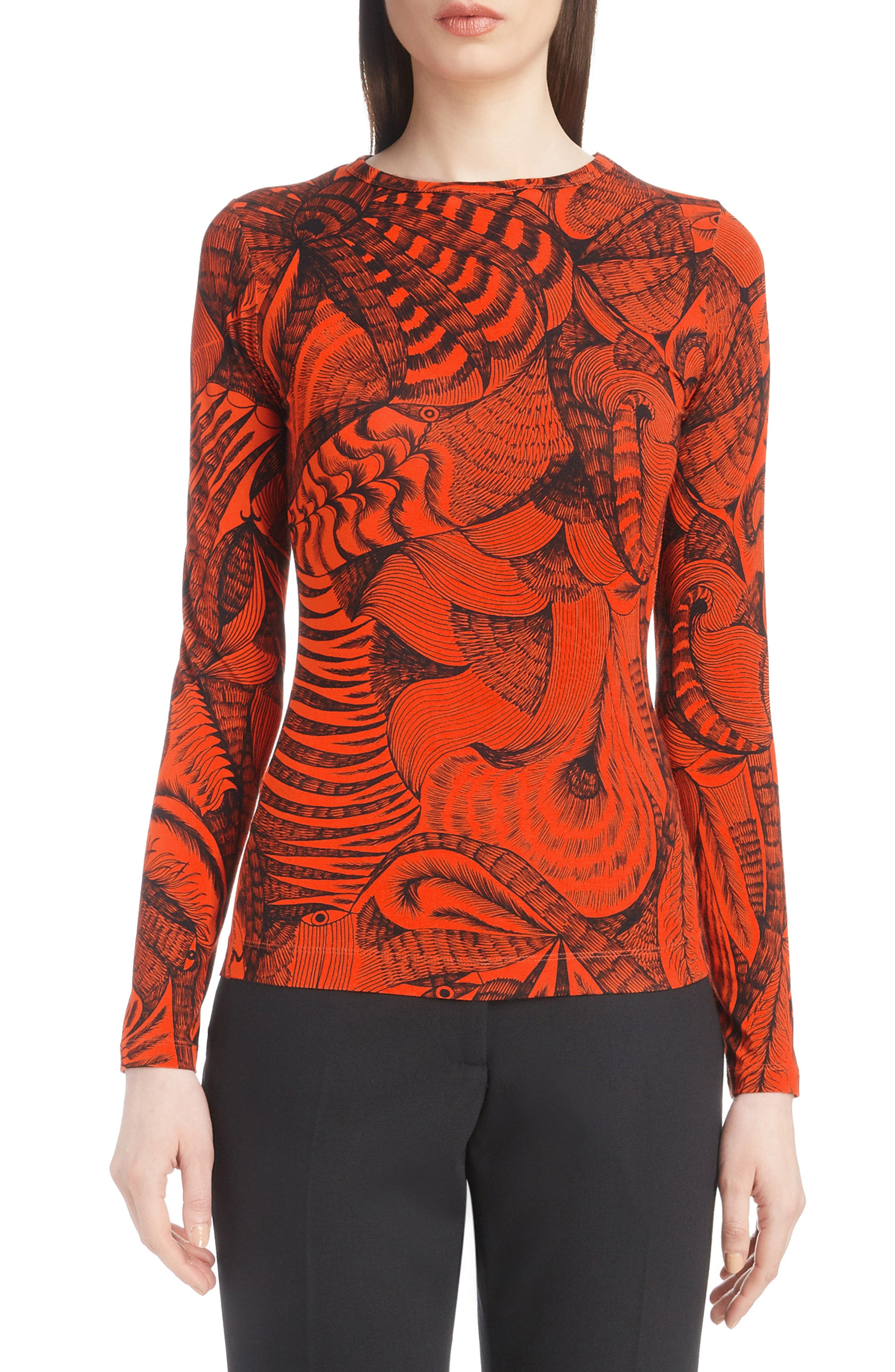 Tattoo Print Fitted Knit Top,                             Main thumbnail 1, color,                             950