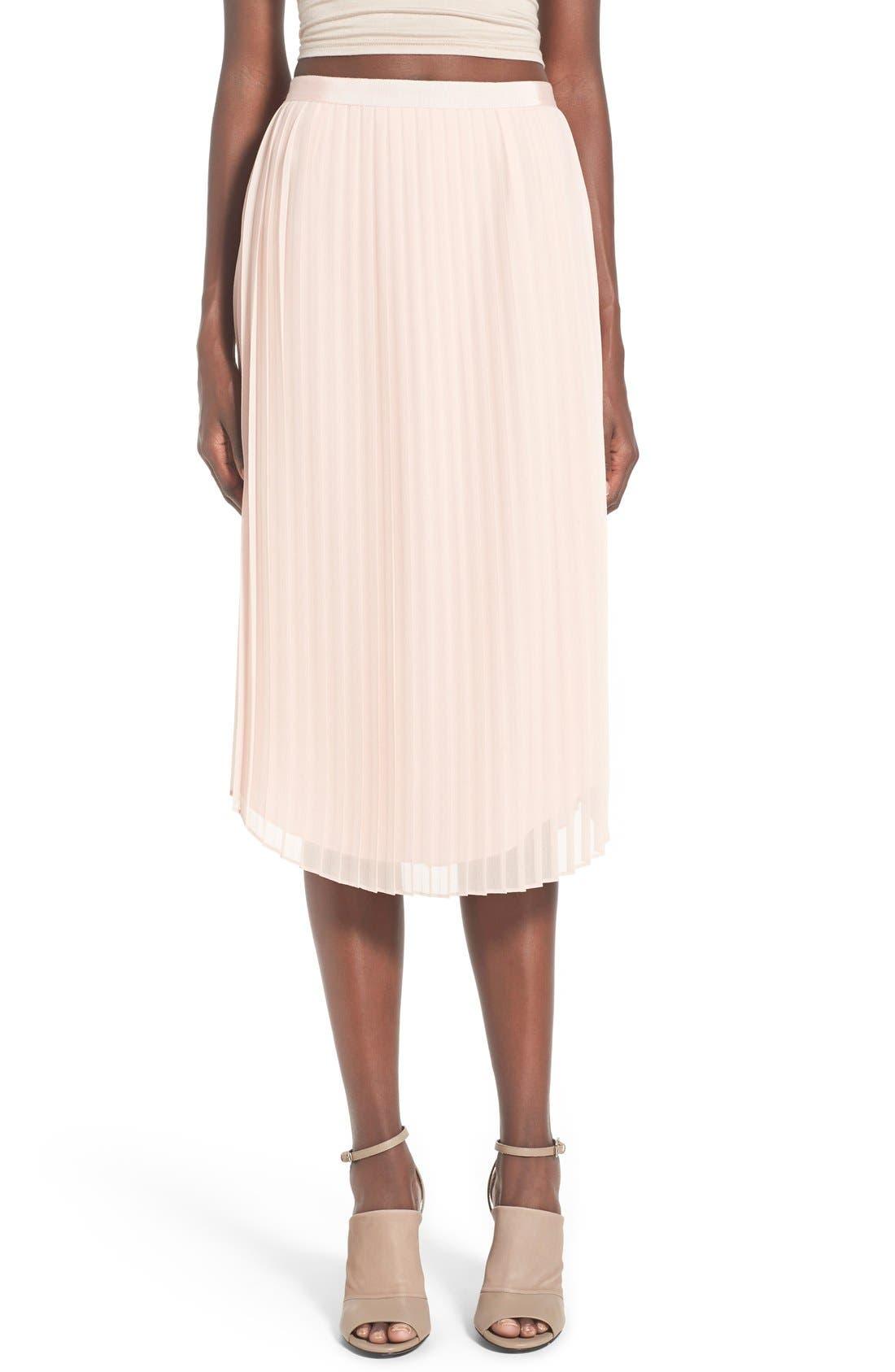 CHELSEA28,                             Pleated Midi Skirt,                             Main thumbnail 1, color,                             680