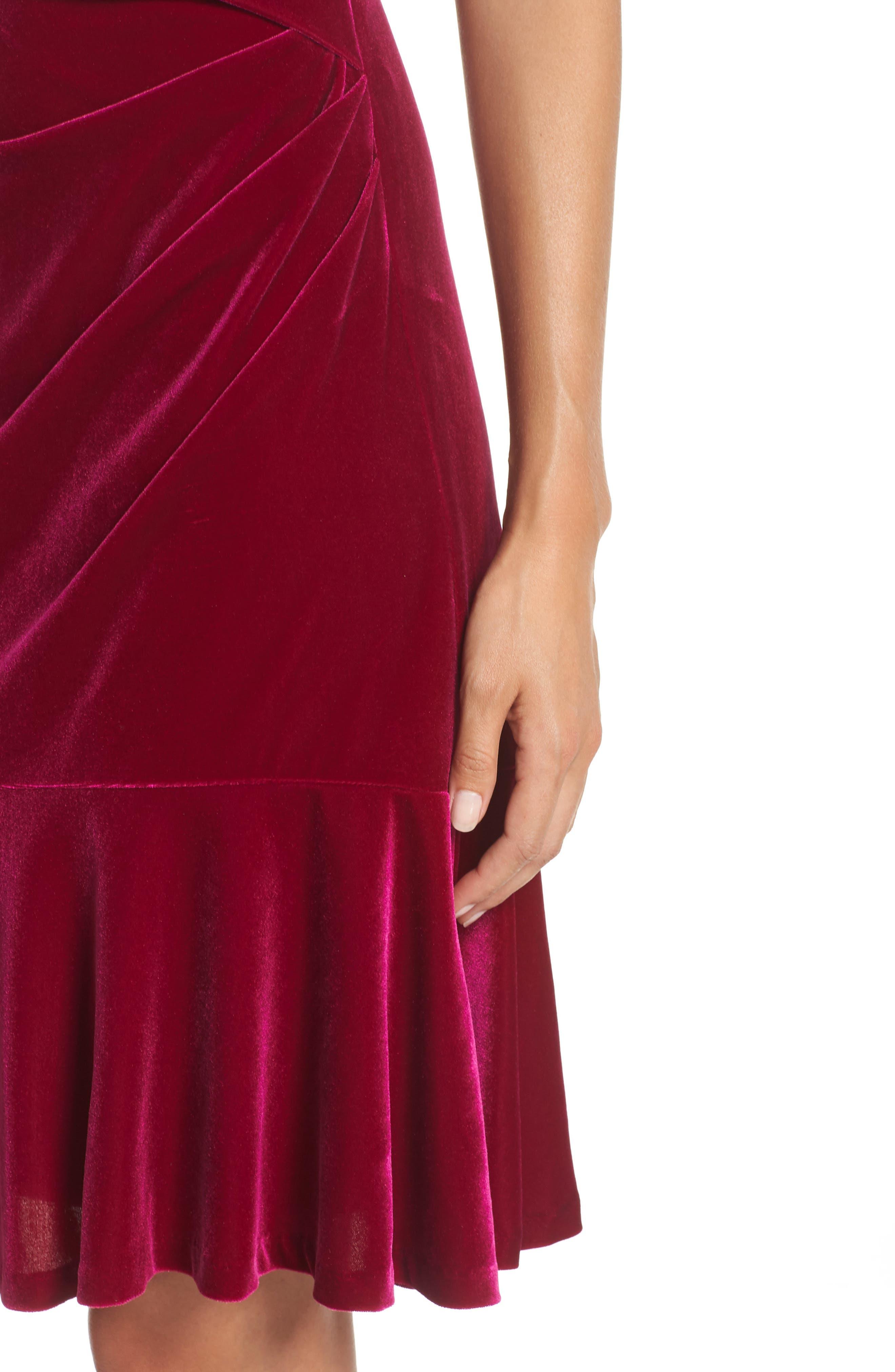 Draped Velvet Sheath Dress,                             Alternate thumbnail 4, color,                             FUCHSIA