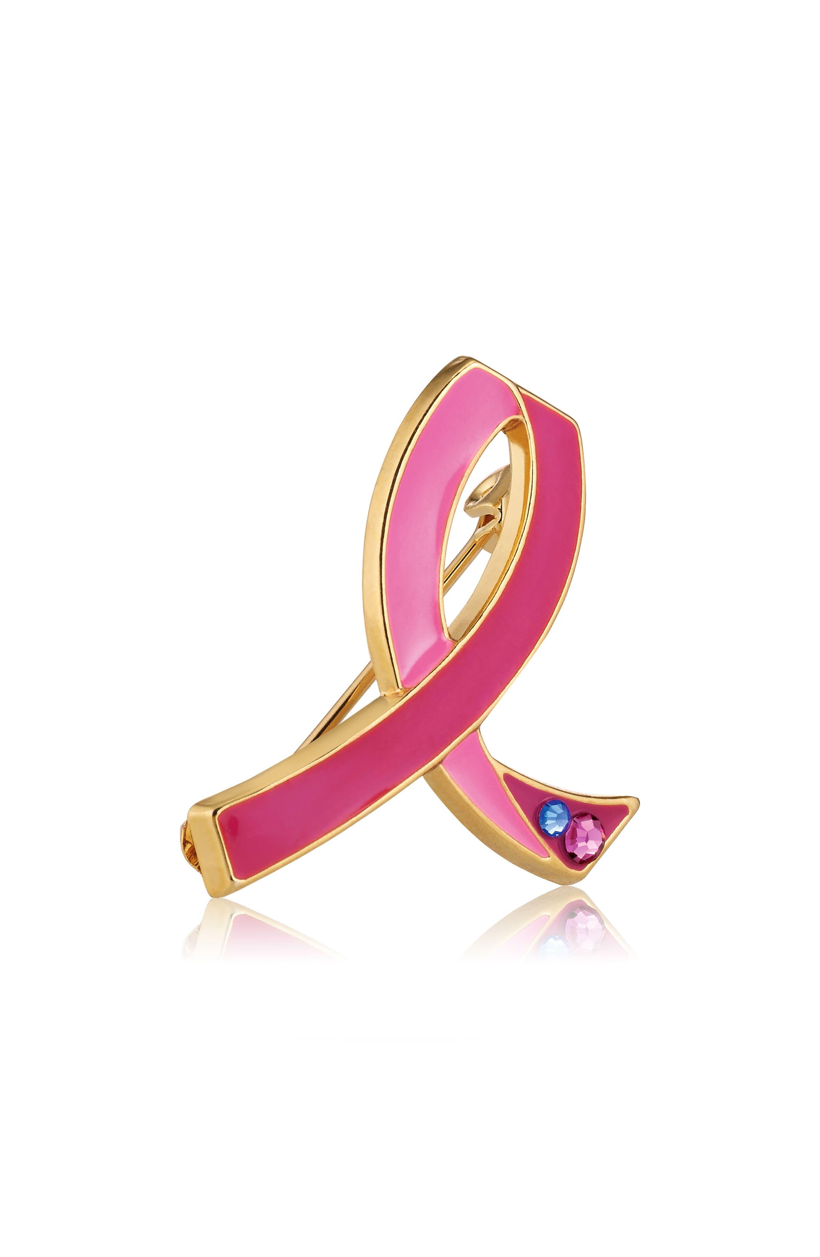 25th Anniversary Pink Ribbon Pin,                             Main thumbnail 1, color,                             000