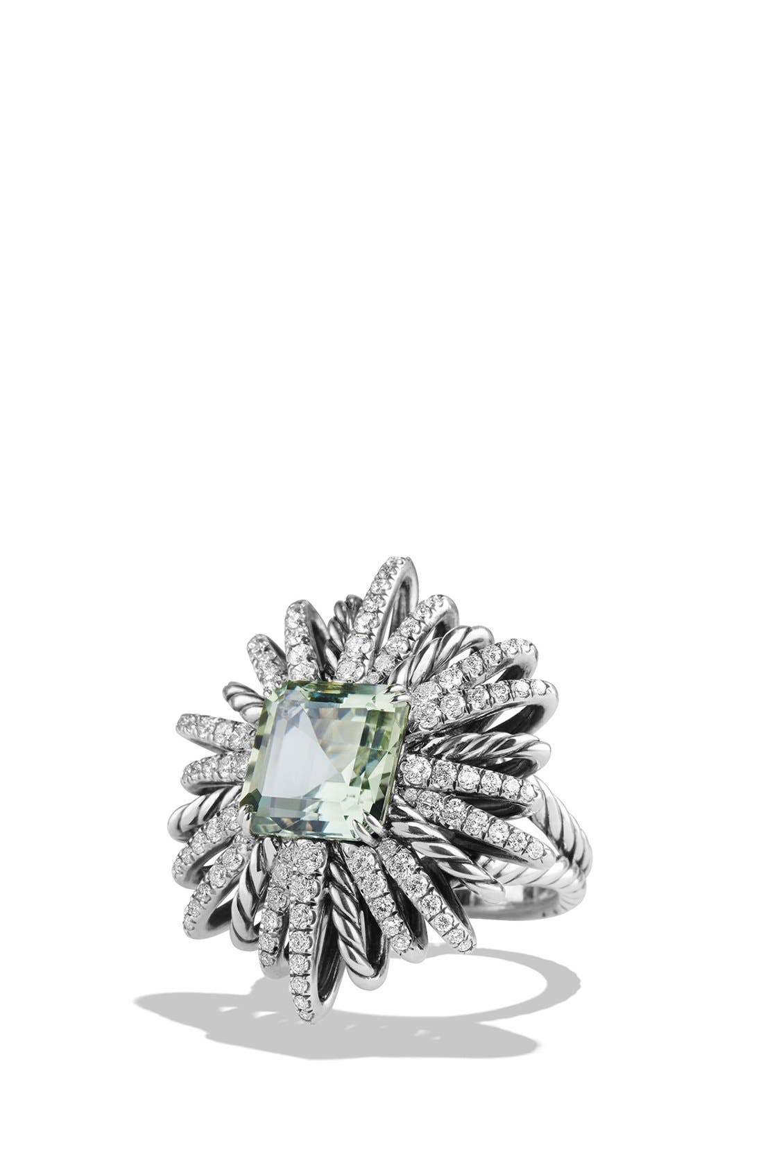 'Starburst' Ring with Semiprecious Stone and Diamonds,                             Main thumbnail 1, color,                             PRASIOLITE