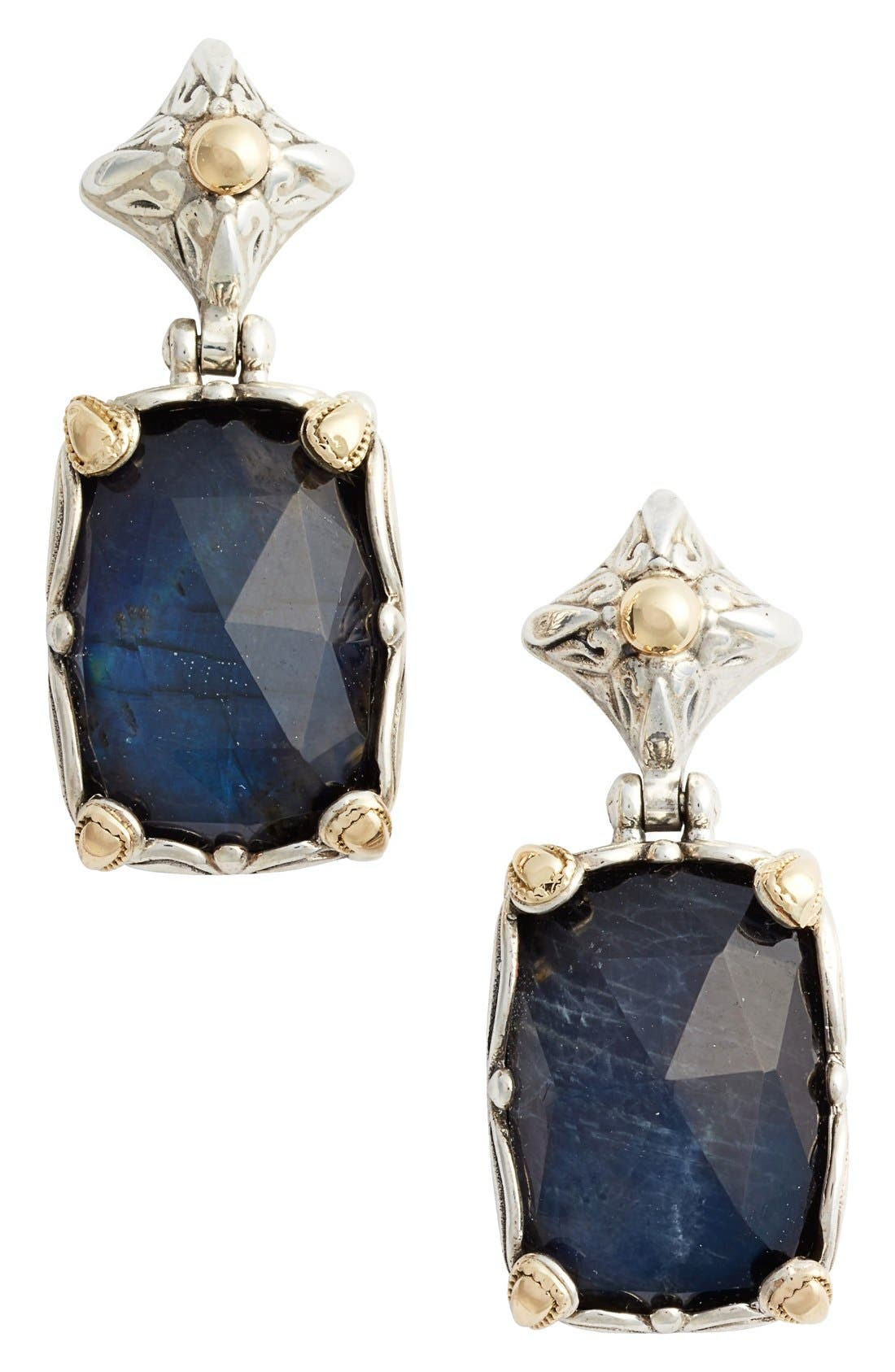 Cassiopeia Cushion Drop Earrings,                             Main thumbnail 1, color,                             LABRADORITE