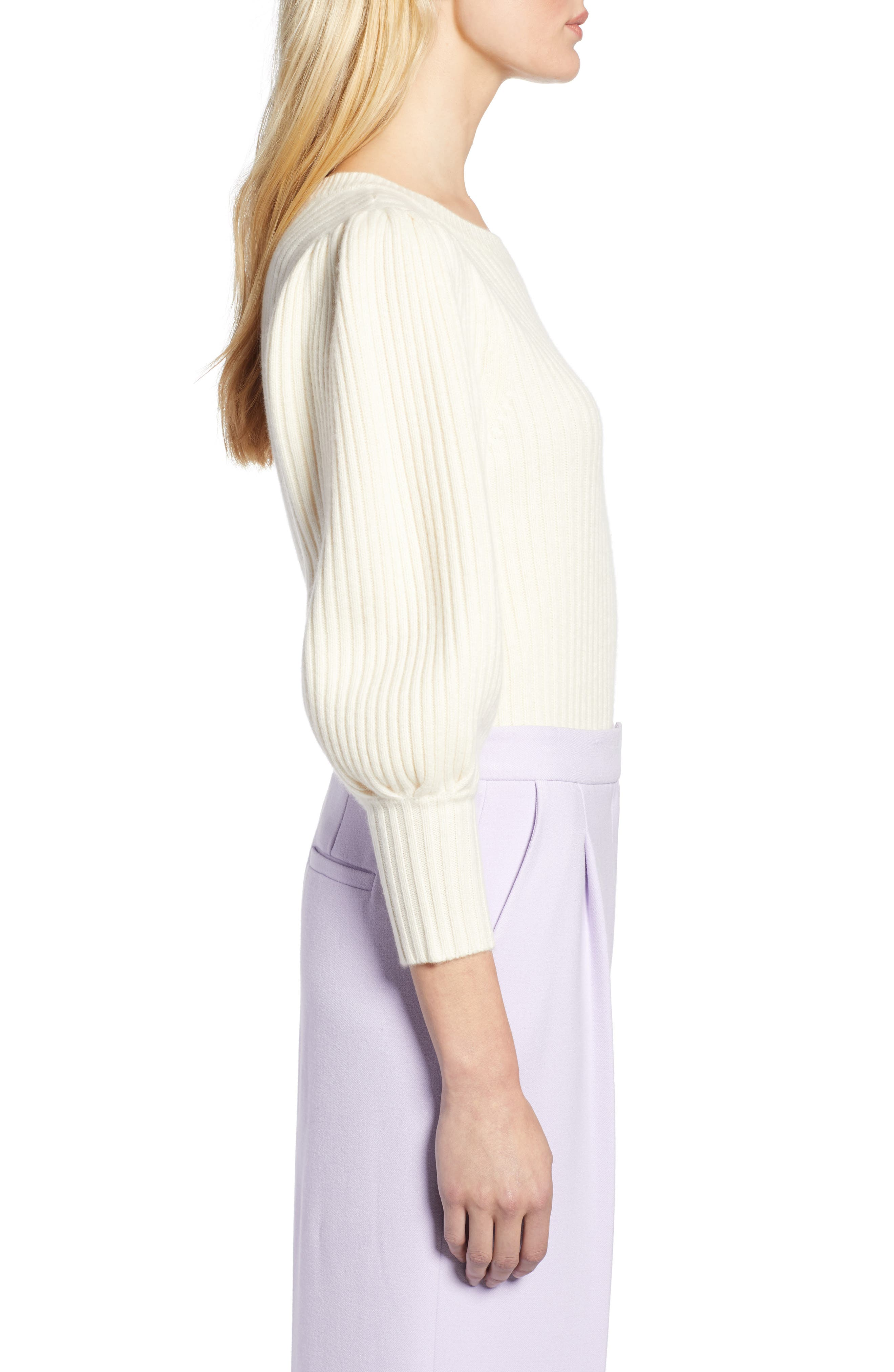 x Atlantic-Pacific Balloon Sleeve Wool & Cashmere Sweater,                             Alternate thumbnail 4, color,                             900