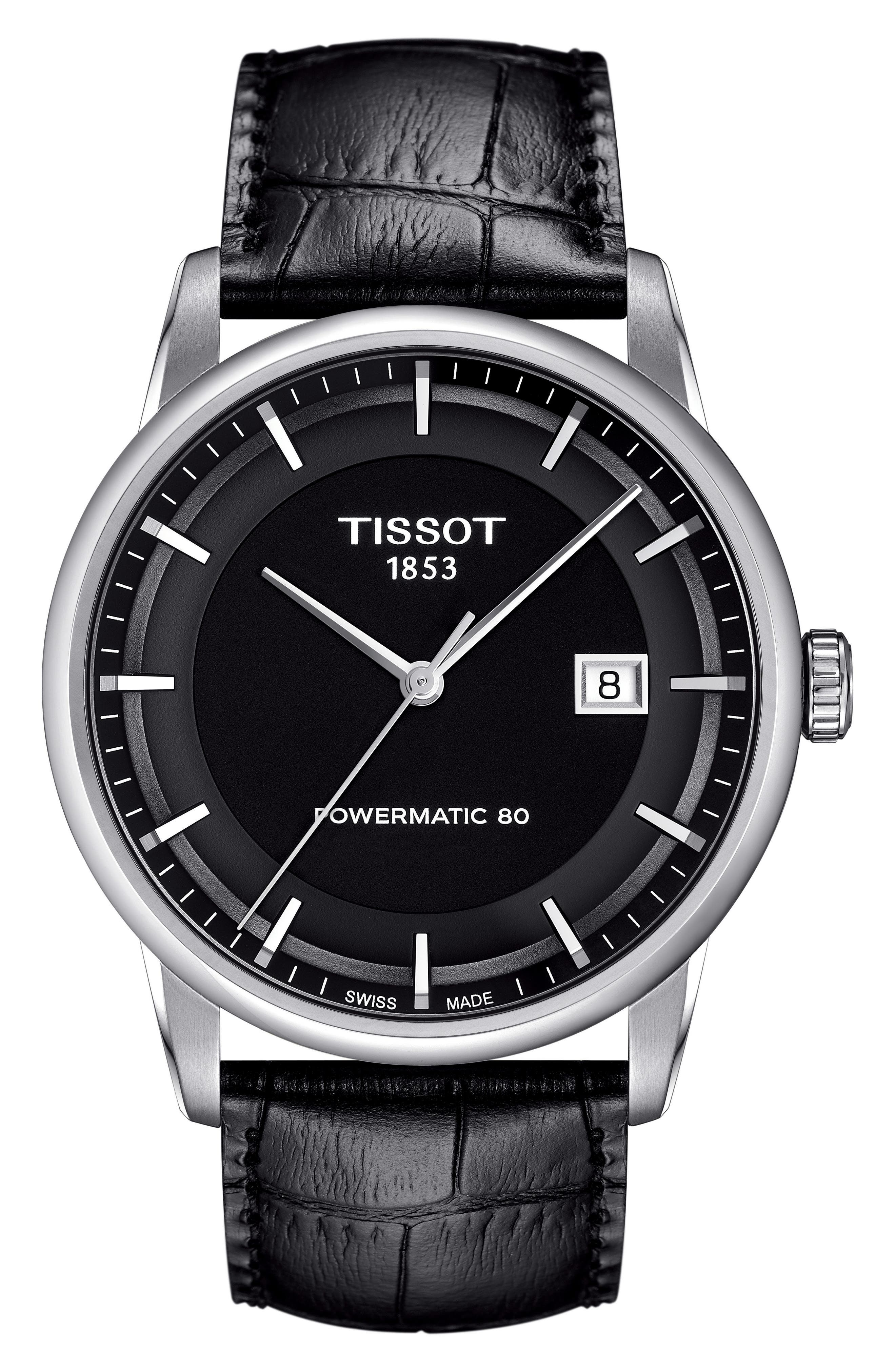 Luxury GTS Automatic Leather Strap Watch, 41mm,                             Main thumbnail 1, color,                             BLACK/ SILVER
