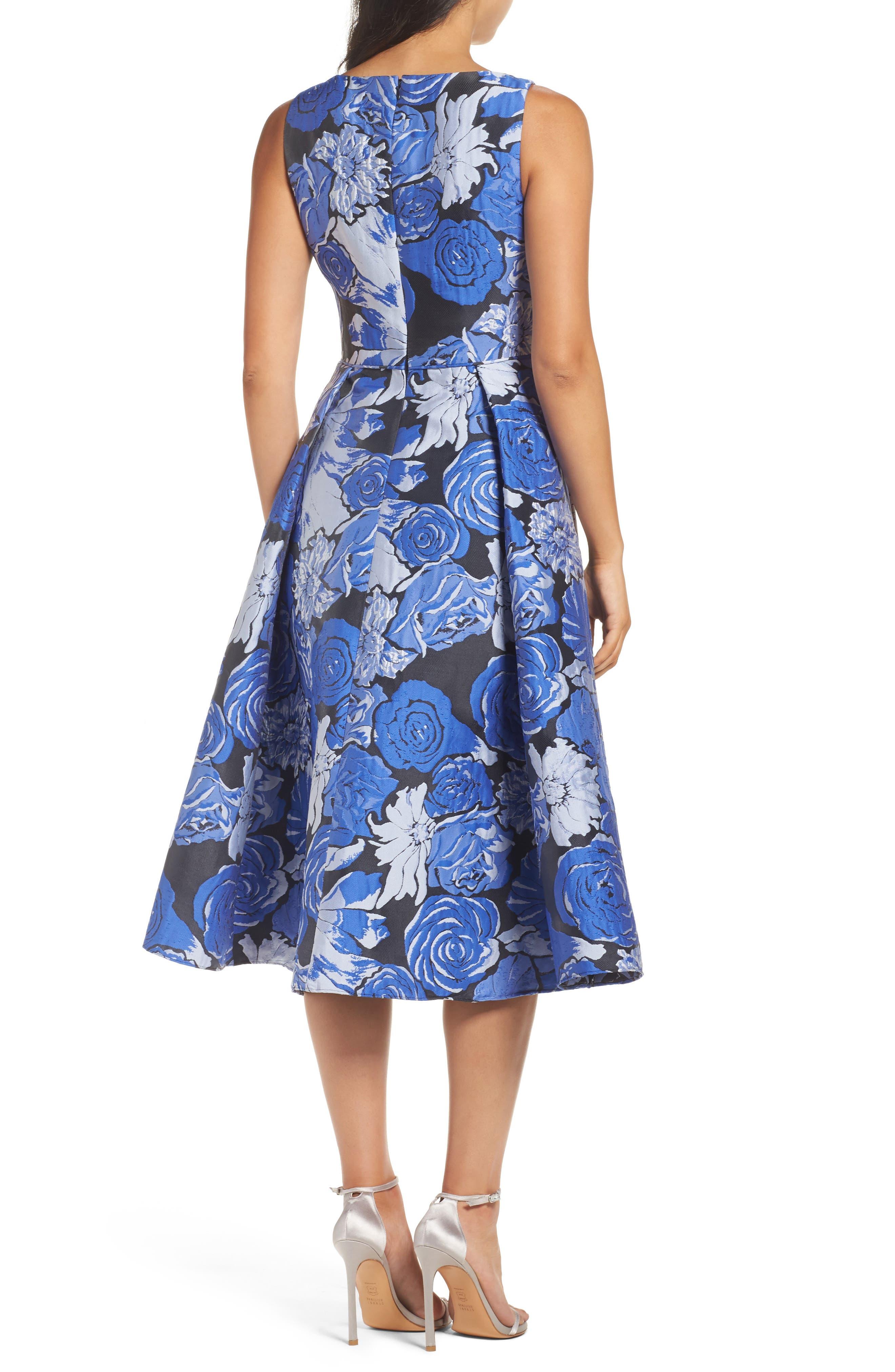 Jacquard Fit & Flare Dress,                             Alternate thumbnail 2, color,
