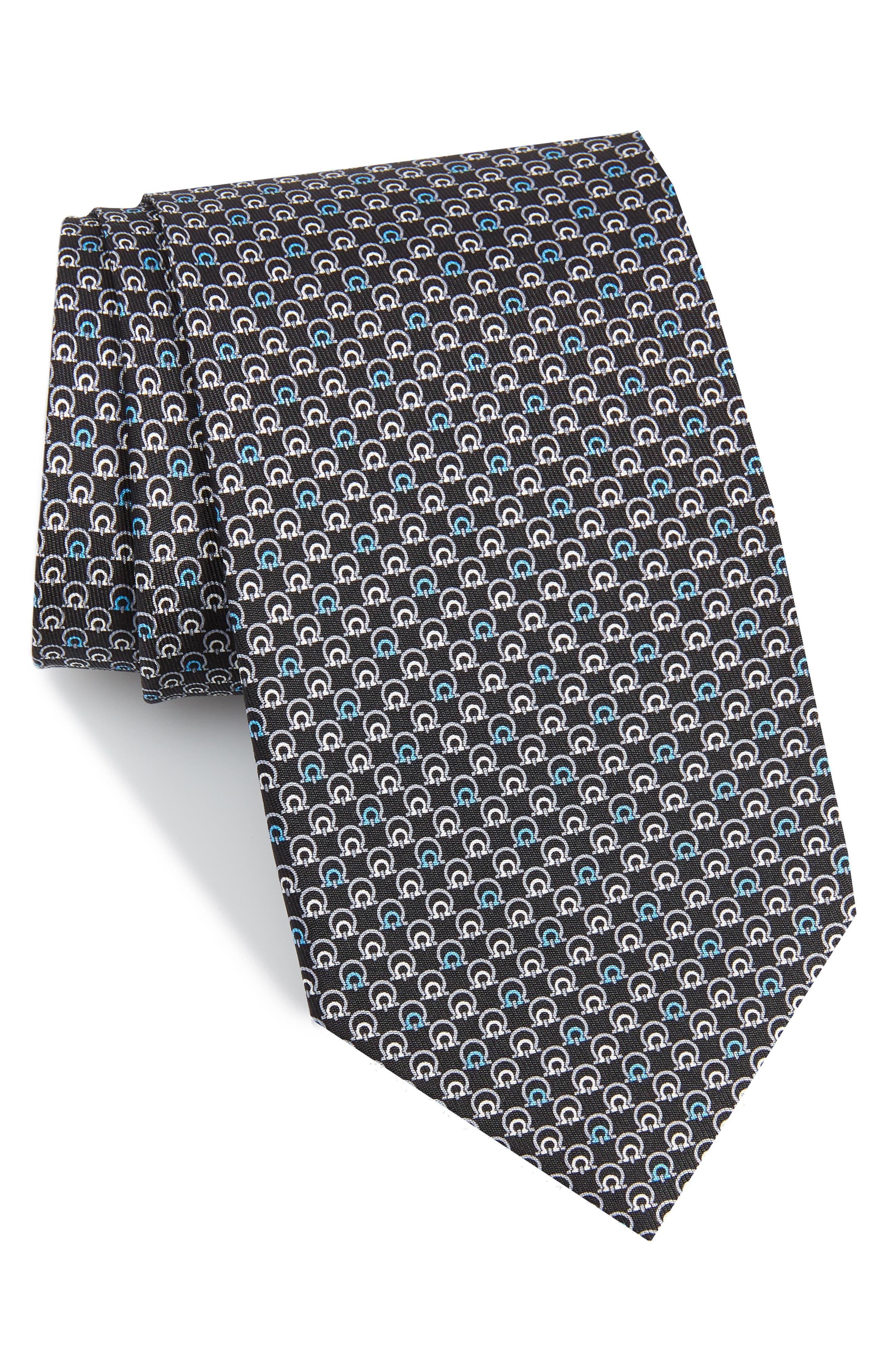 Estro Print Silk Tie,                         Main,                         color, BLACK