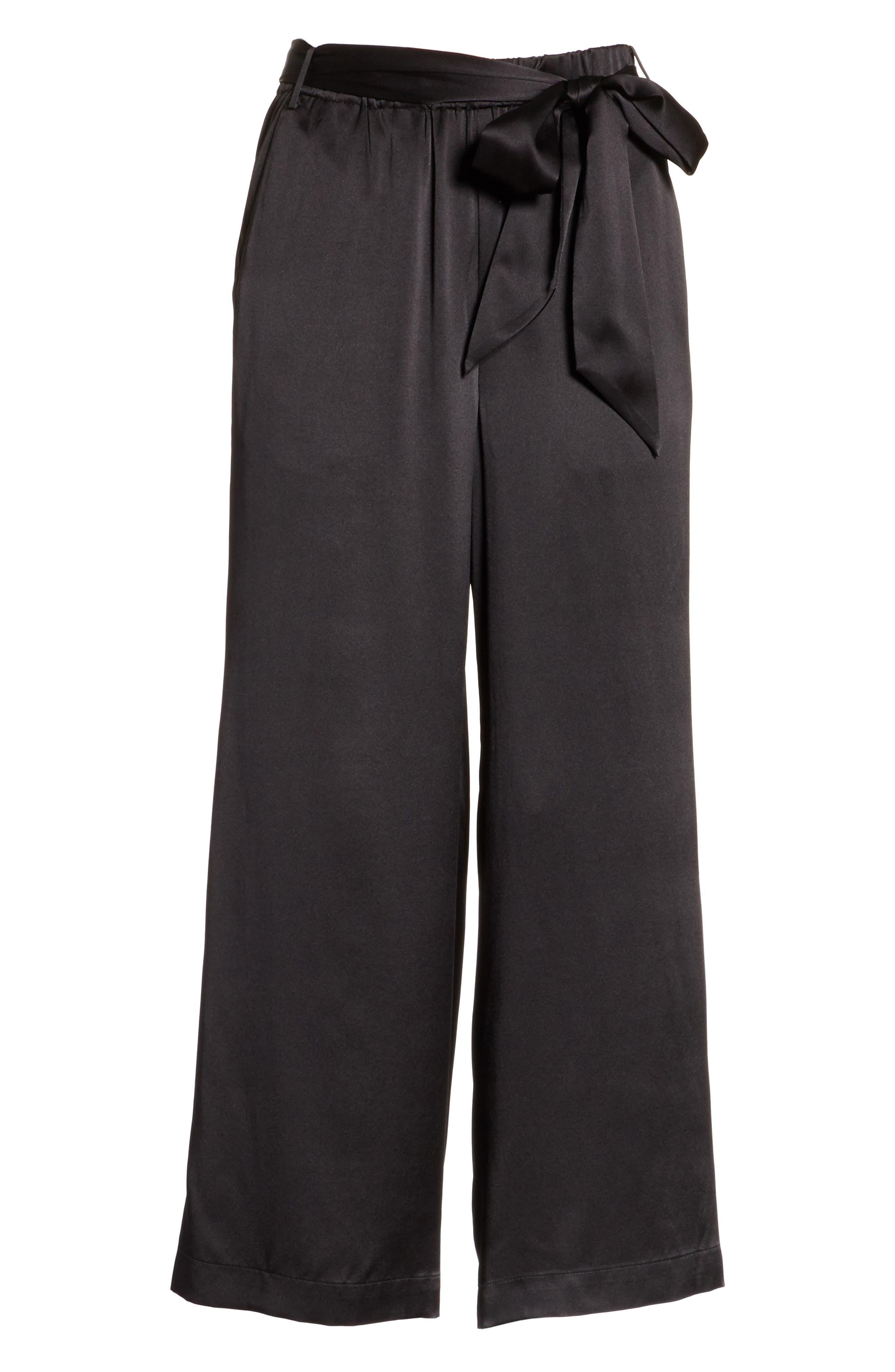 Tie Waist Crop Silk Pants,                             Alternate thumbnail 6, color,                             001