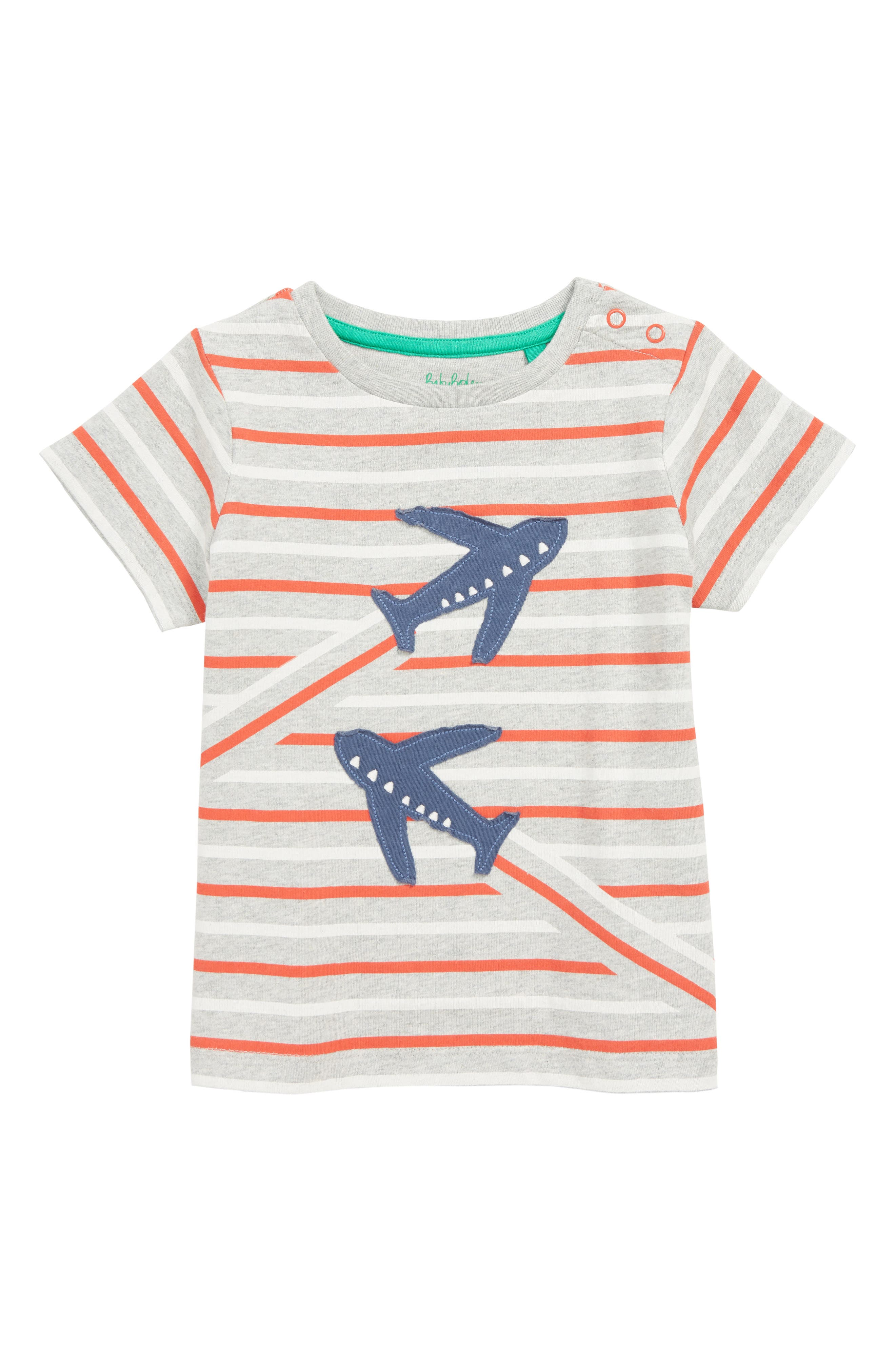 MINI BODEN Transport T-Shirt, Main, color, GRY GREY MARL/ BEAM RED PLANE