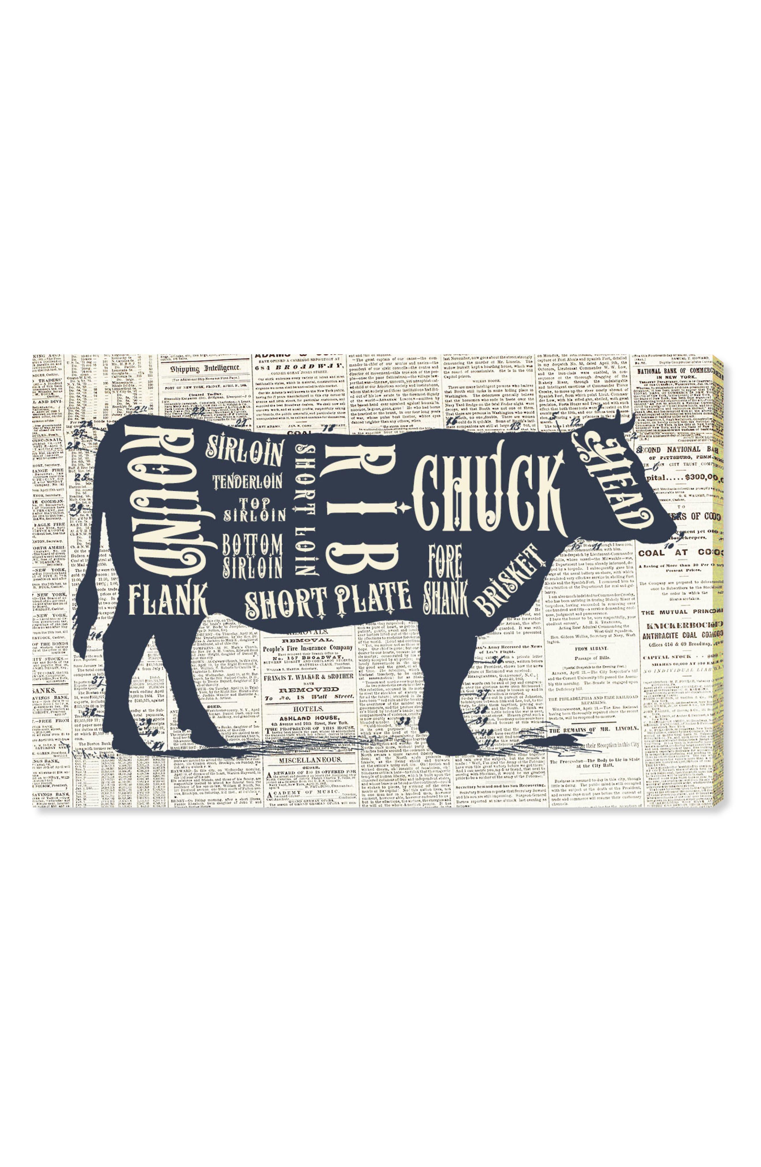 Angus Beef Butcher Cuts Canvas Wall Art,                             Main thumbnail 1, color,                             BLUE