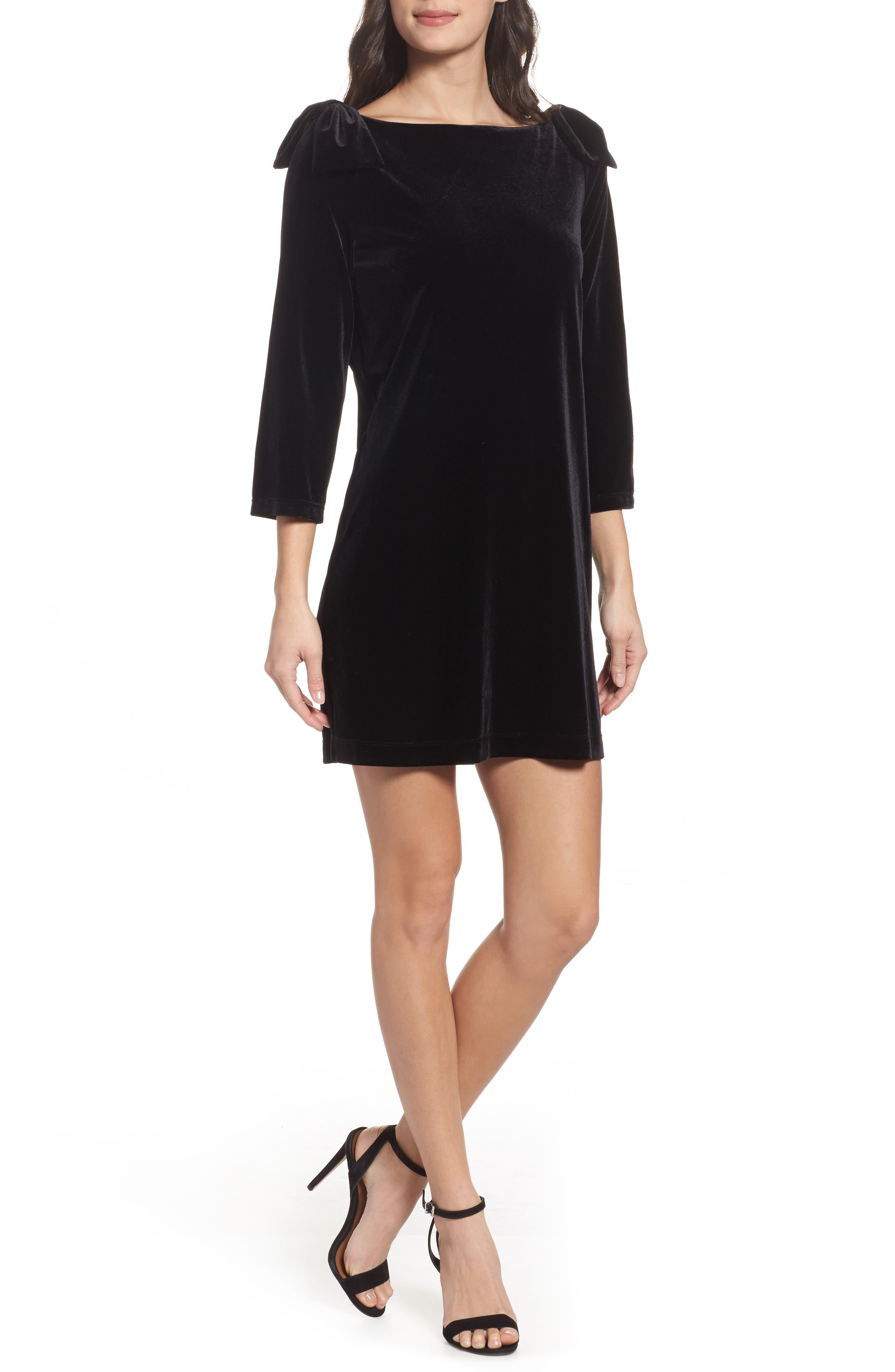 Aurore Velvet Shift Dress,                         Main,                         color, 001