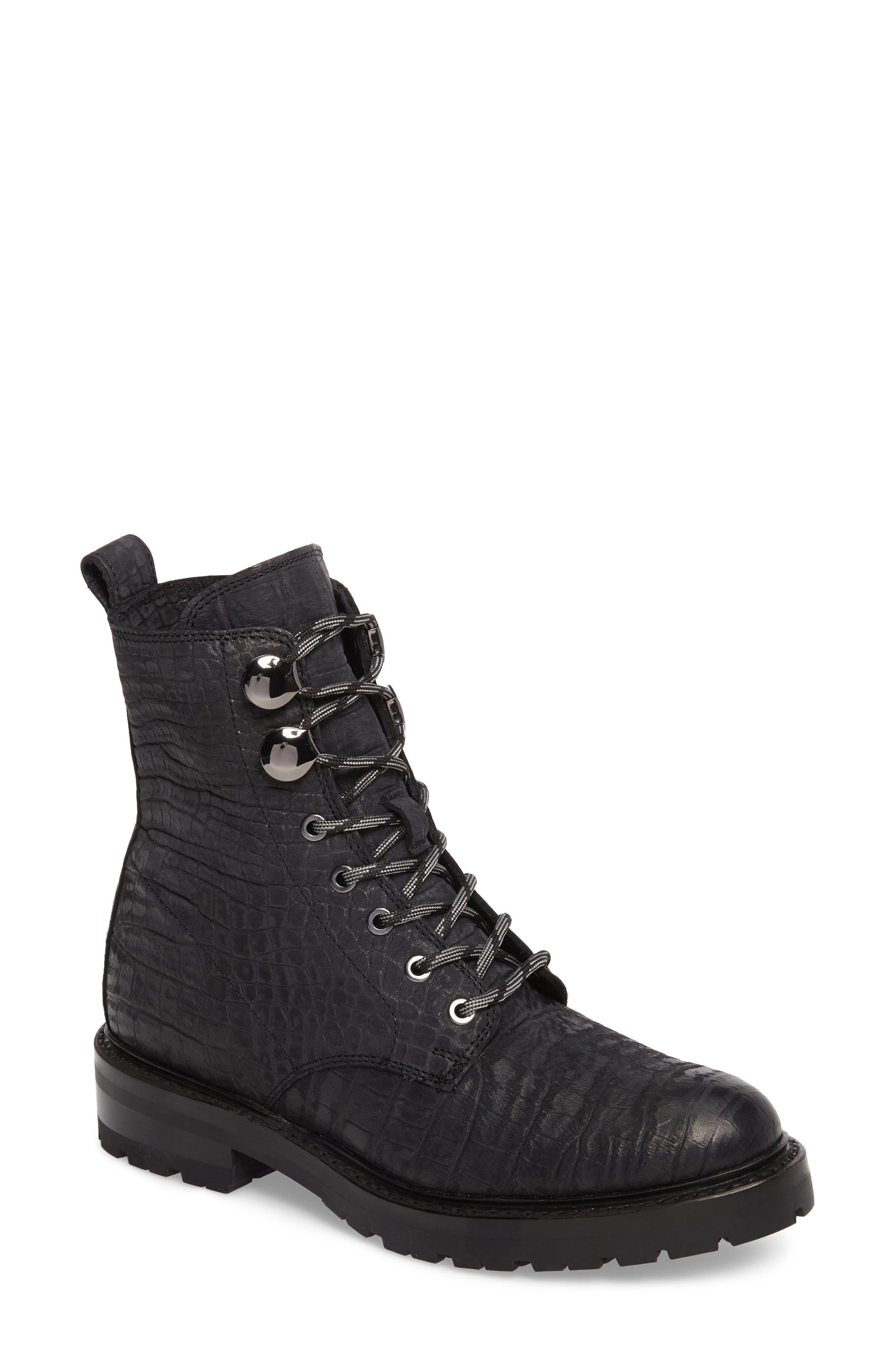 Julie Hook Combat Boot,                         Main,                         color, 001