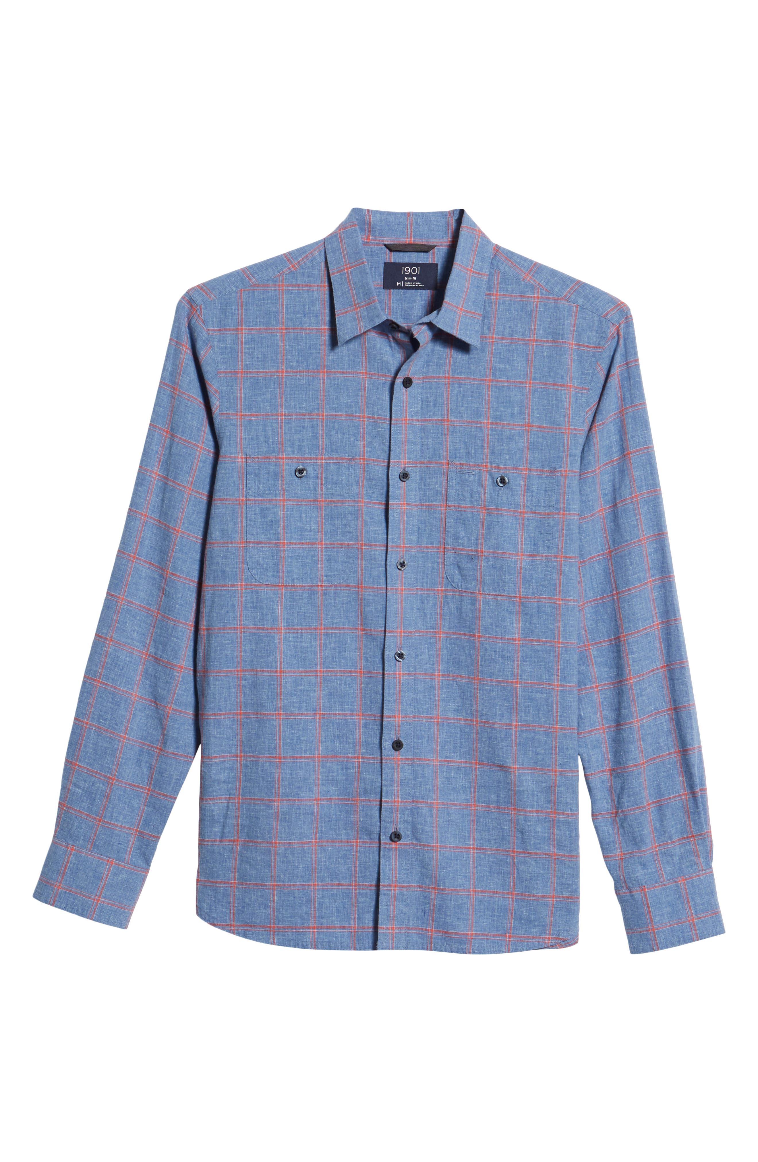 Trim Fit Windowpane Linen & Cotton Sport Shirt,                             Alternate thumbnail 6, color,                             420