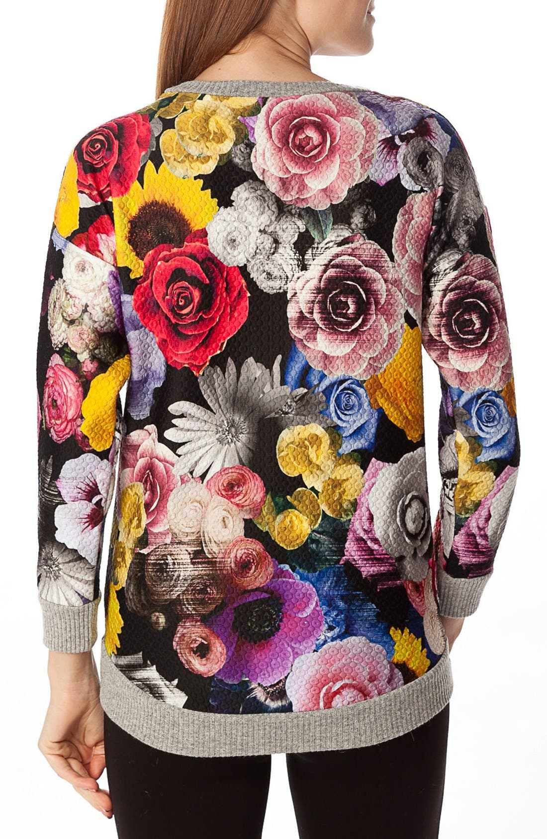 'Ocean' Floral Print Quilted Maternity Sweatshirt,                             Alternate thumbnail 4, color,