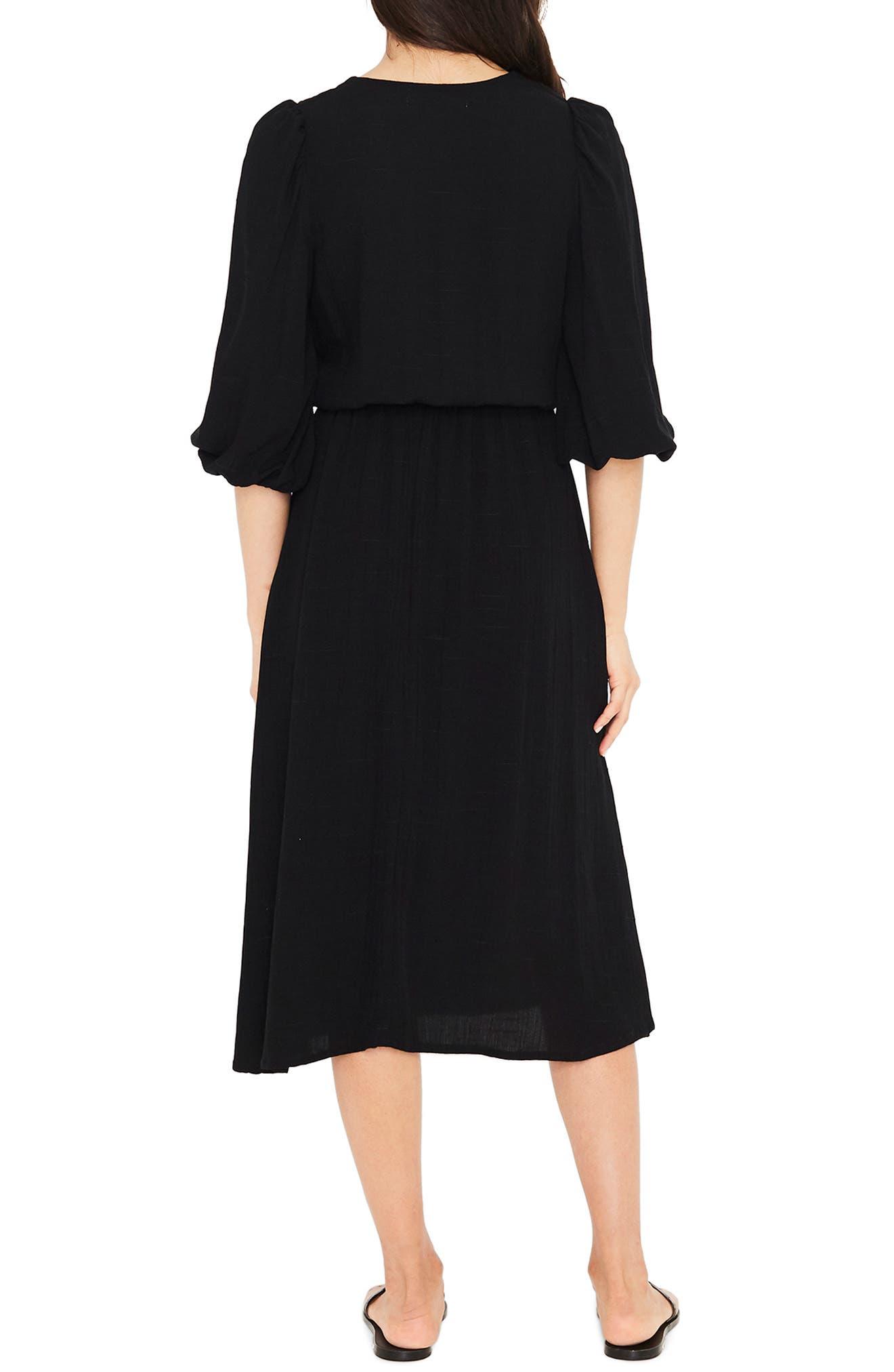 Tobago Tie Front Midi Dress,                             Alternate thumbnail 2, color,                             PLAIN BLACK