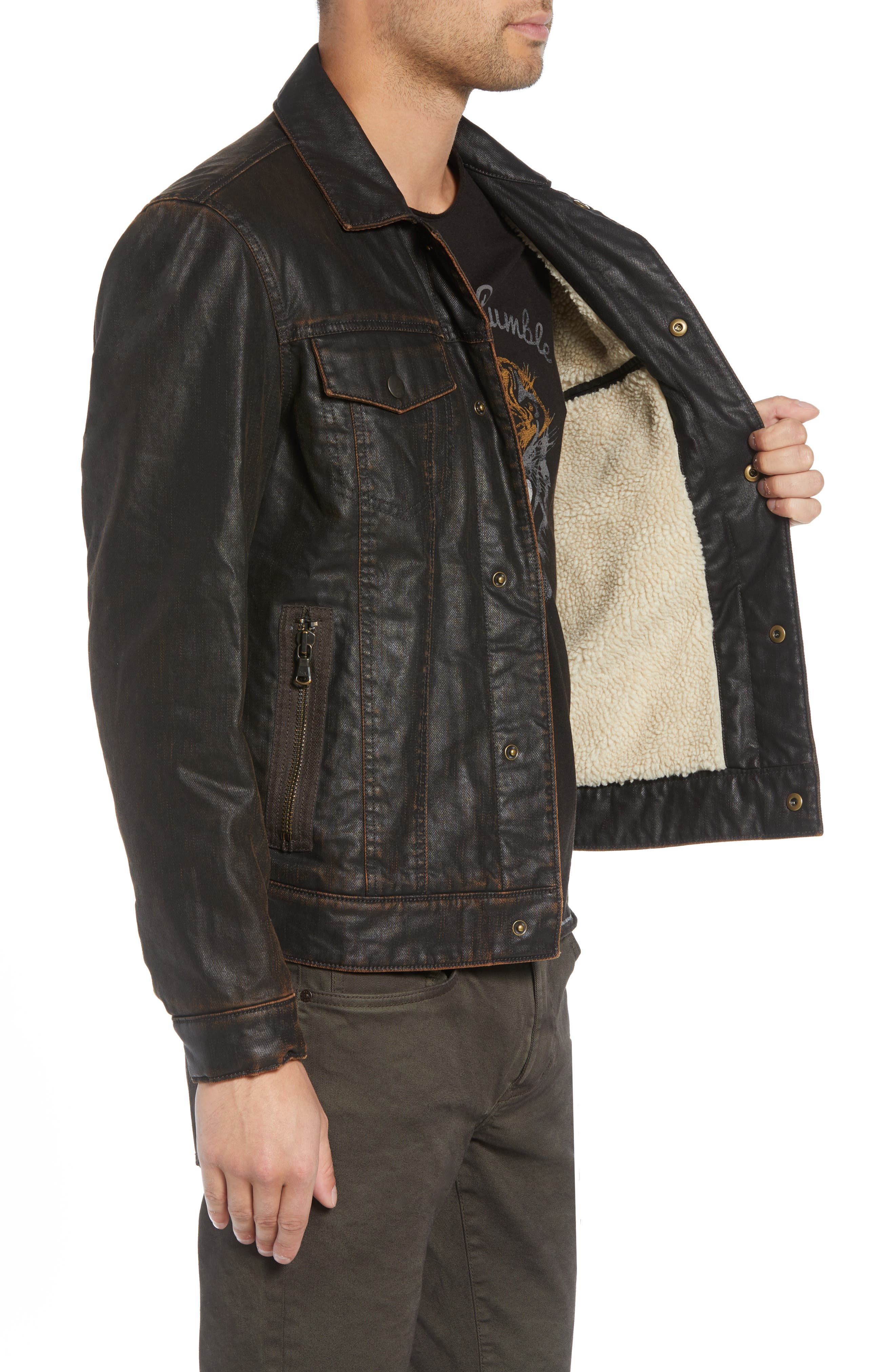 Faux Shearling Lined Coated Trucker Jacket,                             Alternate thumbnail 3, color,                             CHOCOLATE