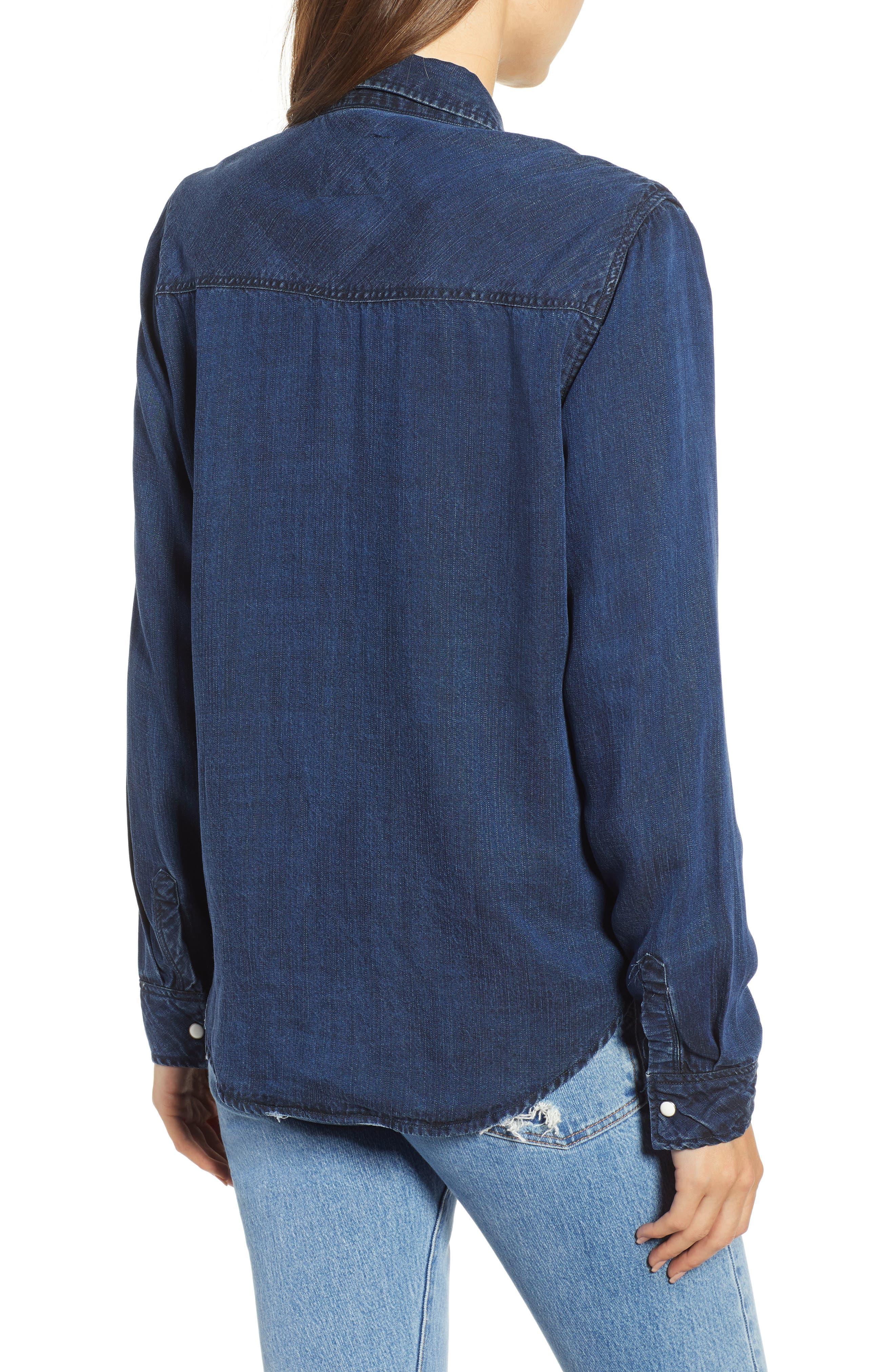 West Button Down Shirt,                             Alternate thumbnail 2, color,                             DARK VINTAGE LAPIS COAST WHITE