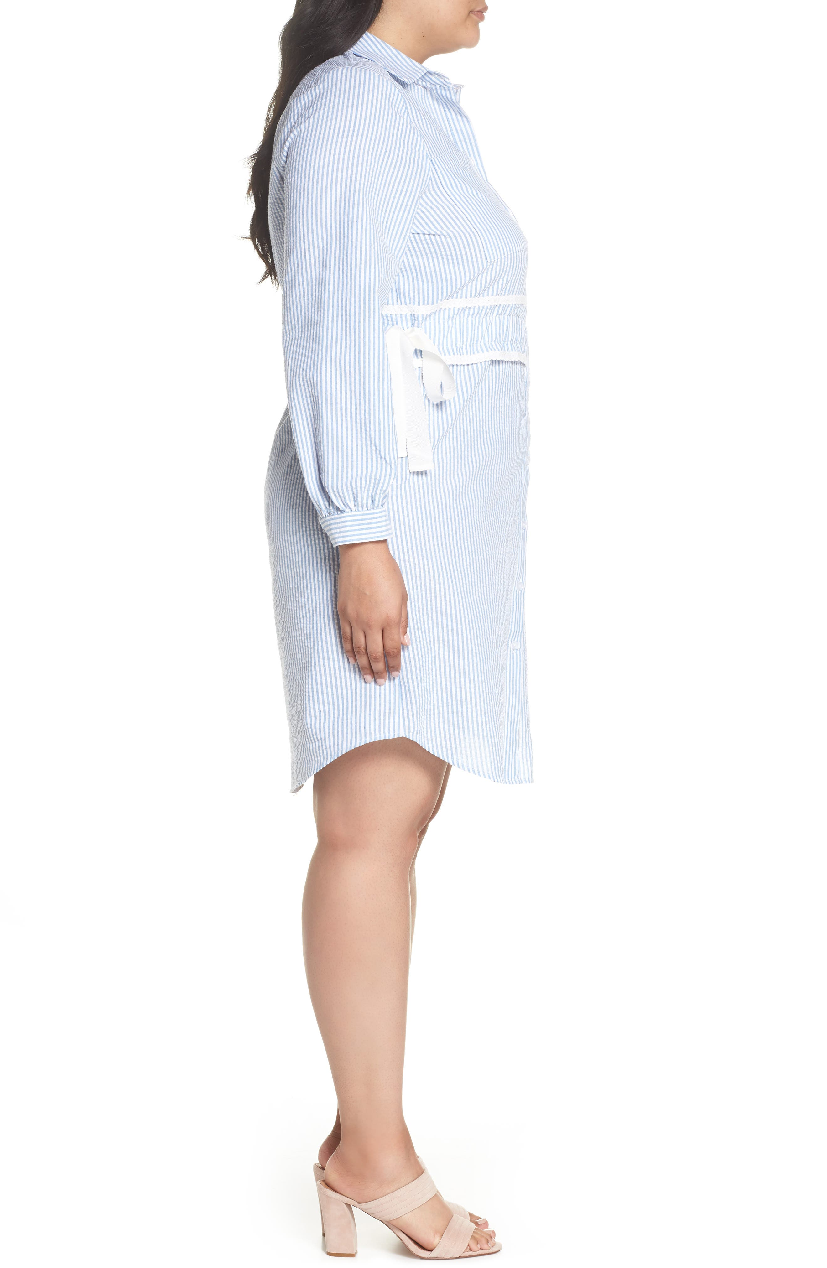 Side Tie Stripe Shirtdress,                             Alternate thumbnail 3, color,                             461