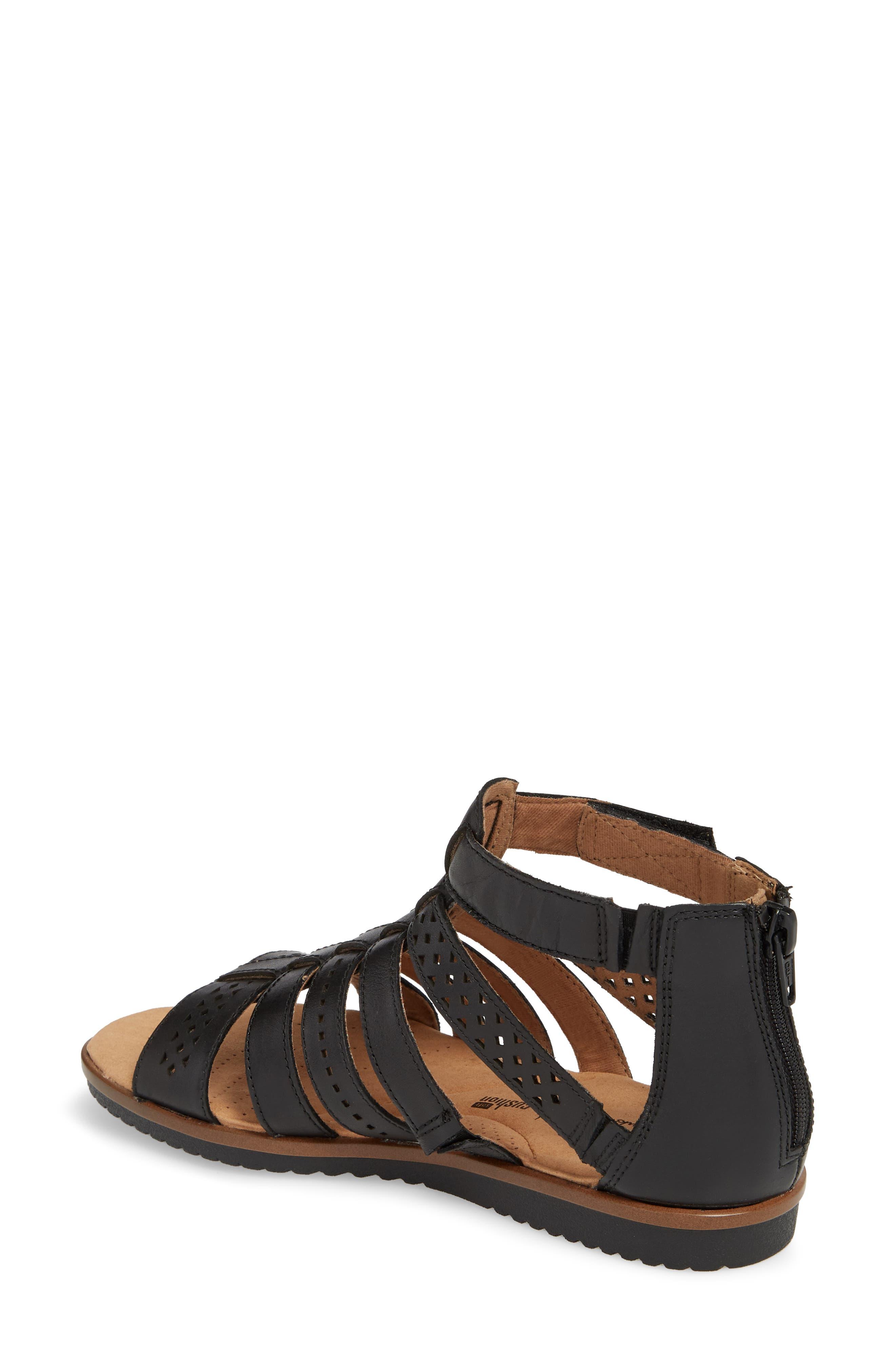 Kele Lotus Sandal,                             Alternate thumbnail 2, color,                             BLACK LEATHER