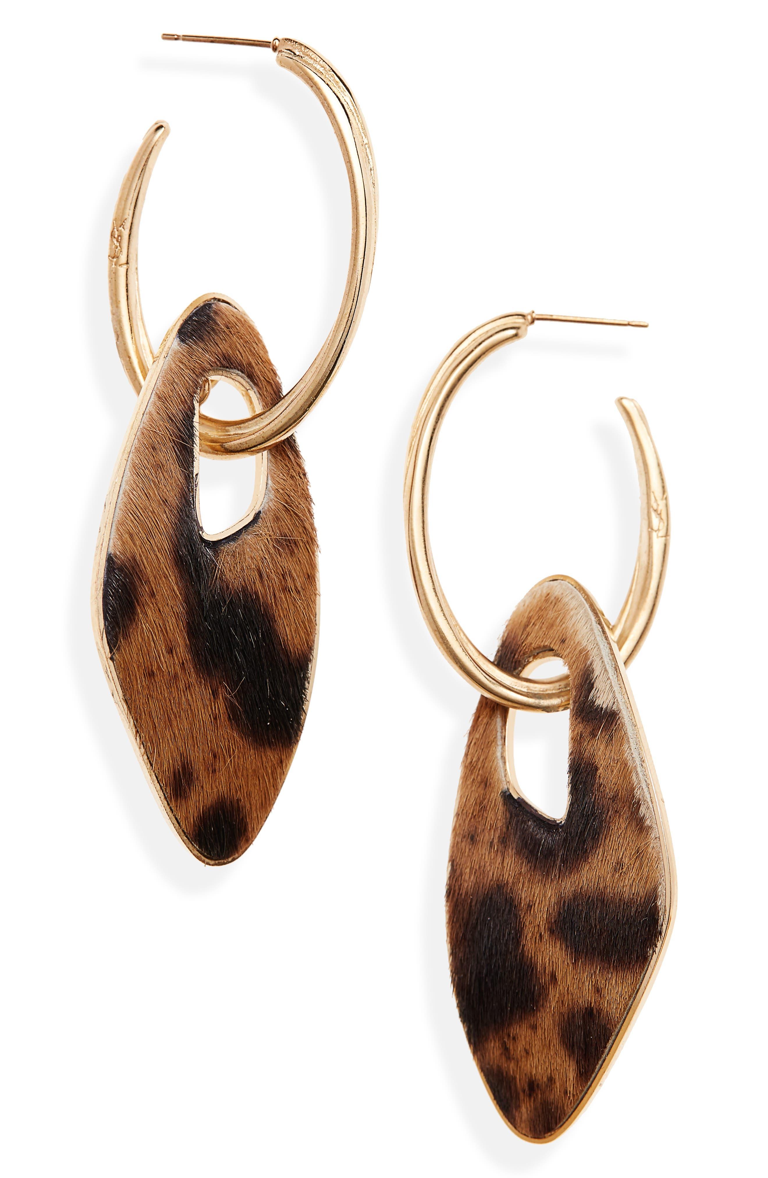 Leopard Genuine Calf Hair Hoop Earrings,                             Main thumbnail 1, color,                             200