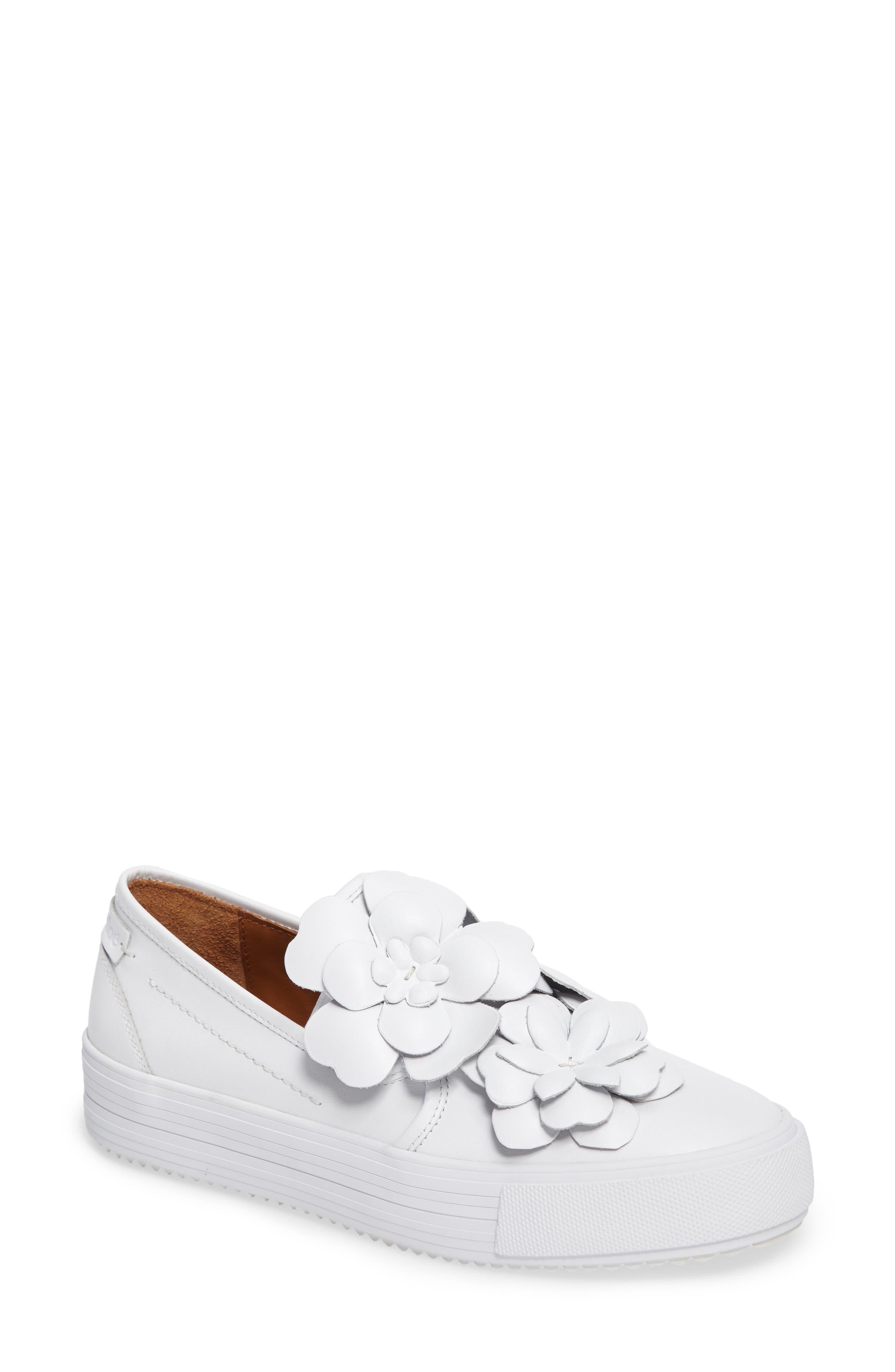 Vera Floral Appliqué Slip-On Sneaker,                         Main,                         color, WHITE