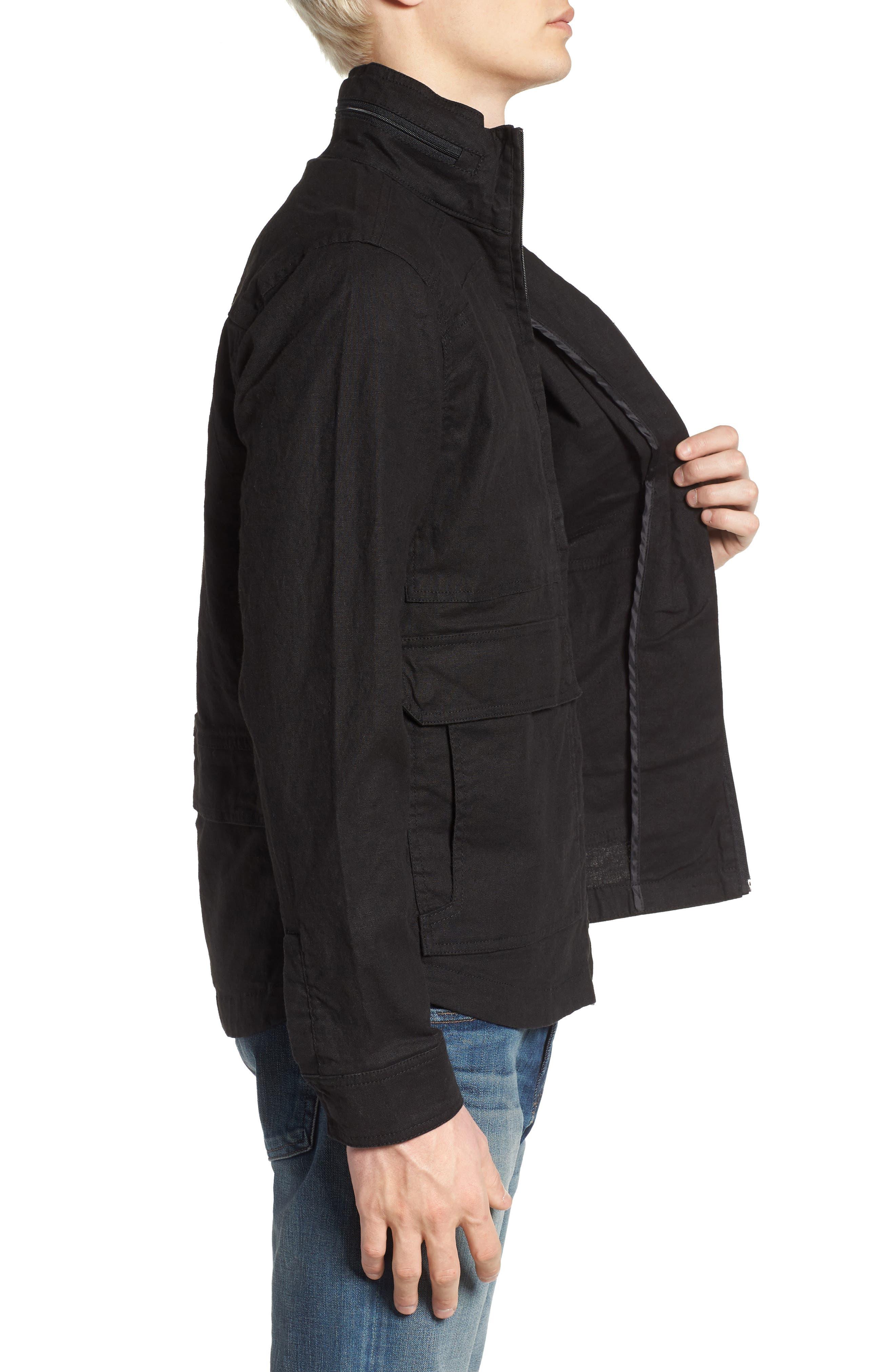Linen Blend Zip Jacket,                             Alternate thumbnail 3, color,