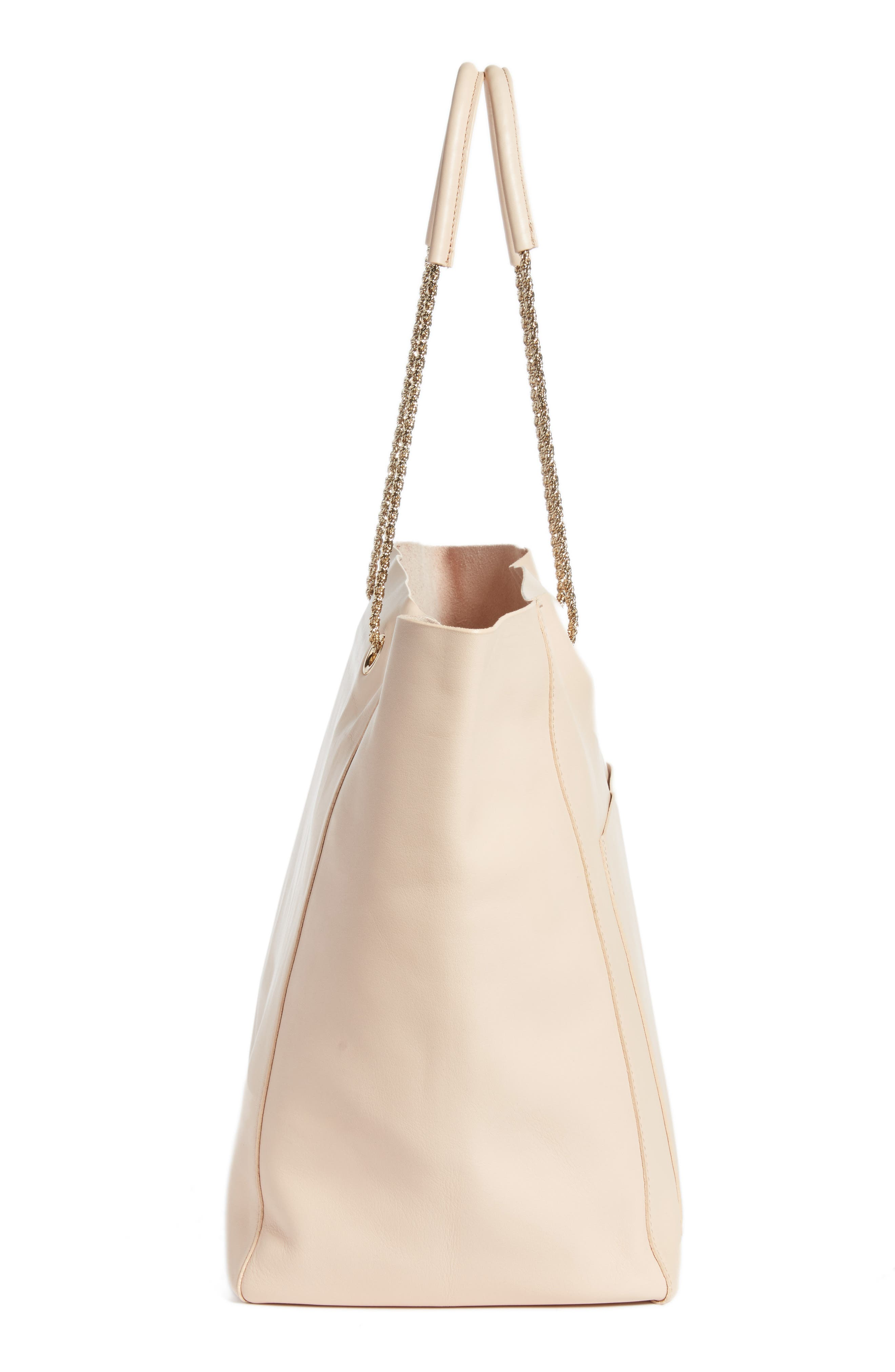 Gaby Leather Tote,                             Alternate thumbnail 5, color,                             NUDE