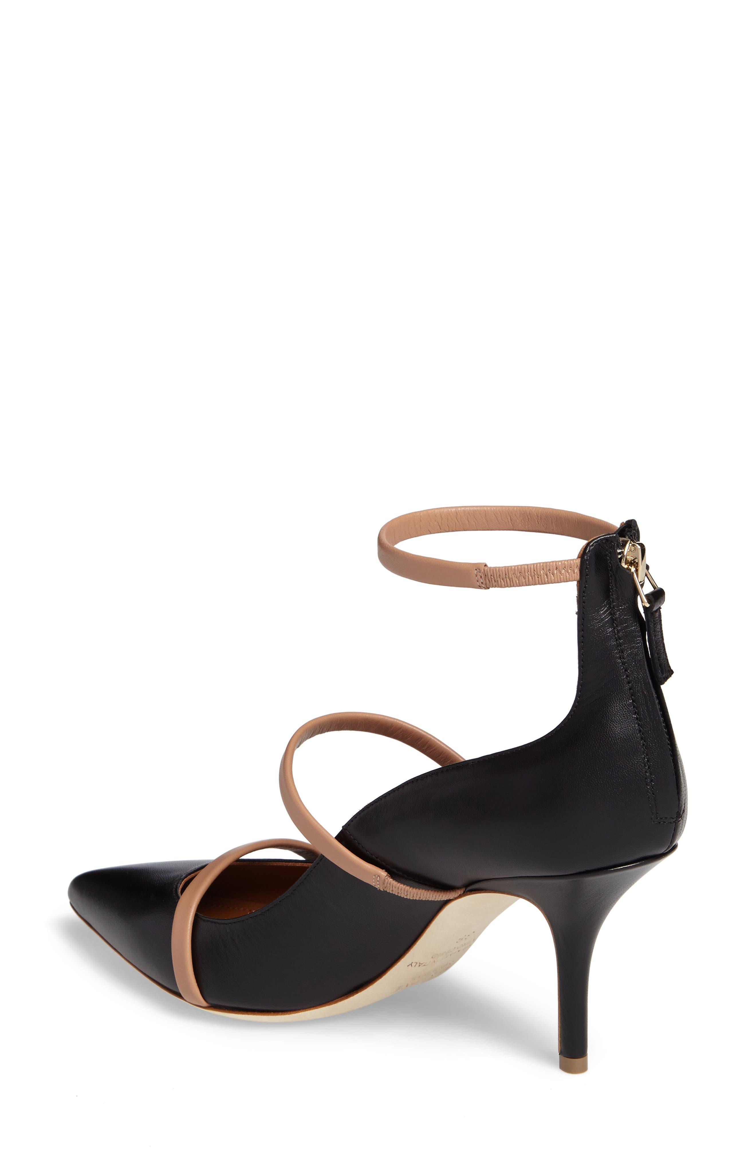 Robyn Ankle Strap Pump,                             Alternate thumbnail 2, color,                             BLACK/ NUDE