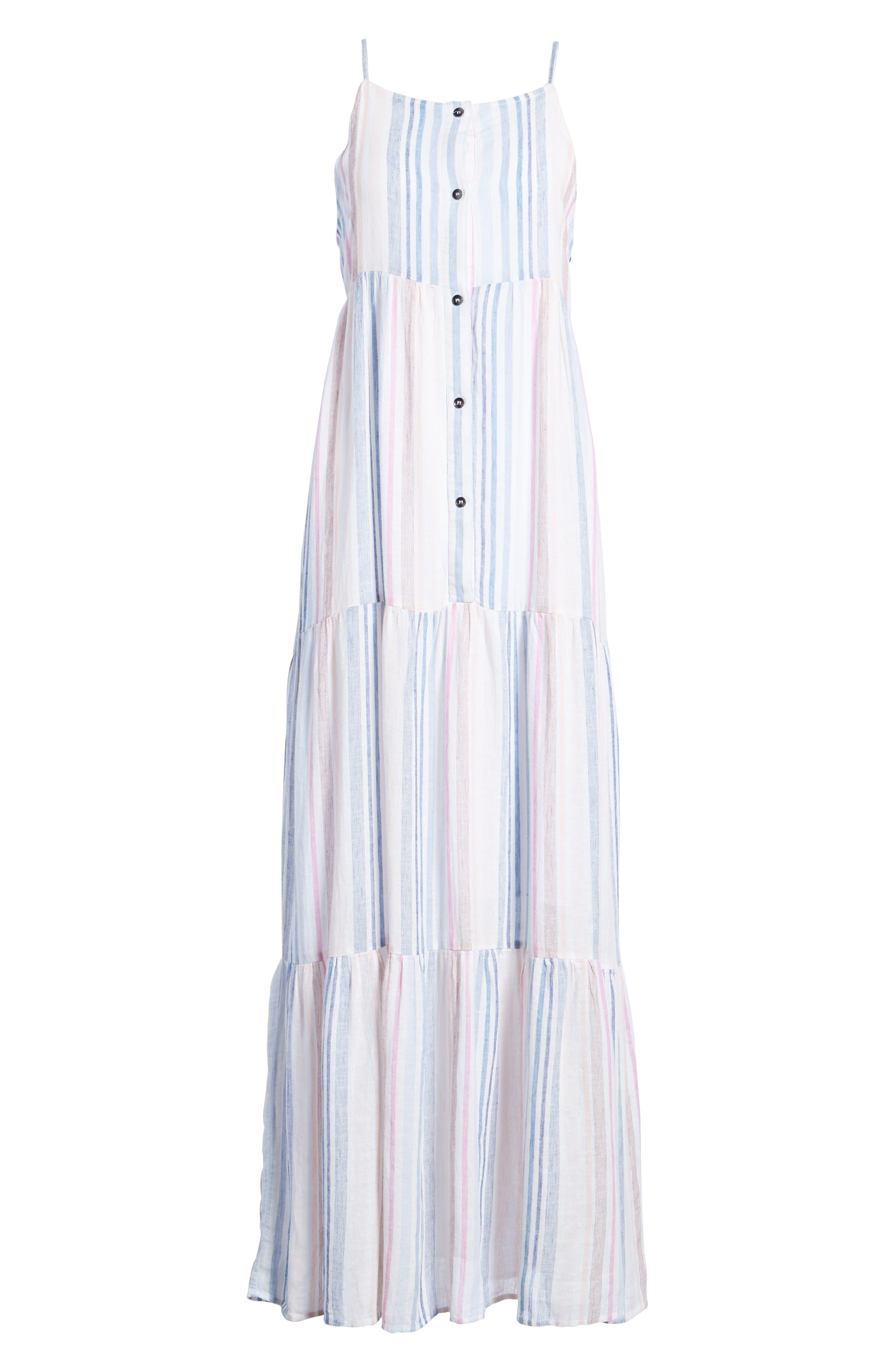Multistripe Linen Maxi Dress,                             Alternate thumbnail 6, color,                             400