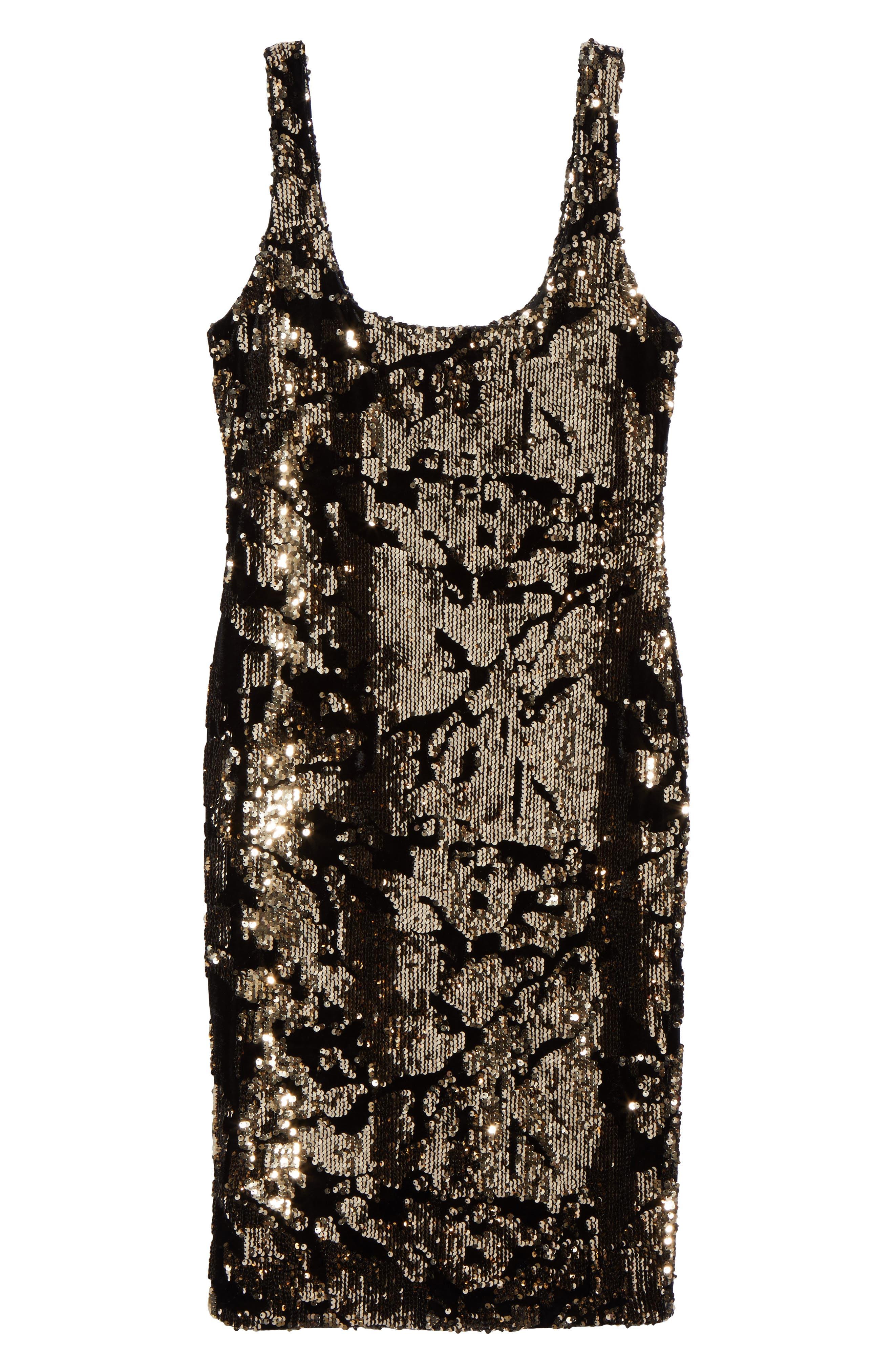 Sequin Velvet Body-Con Dress,                             Alternate thumbnail 6, color,
