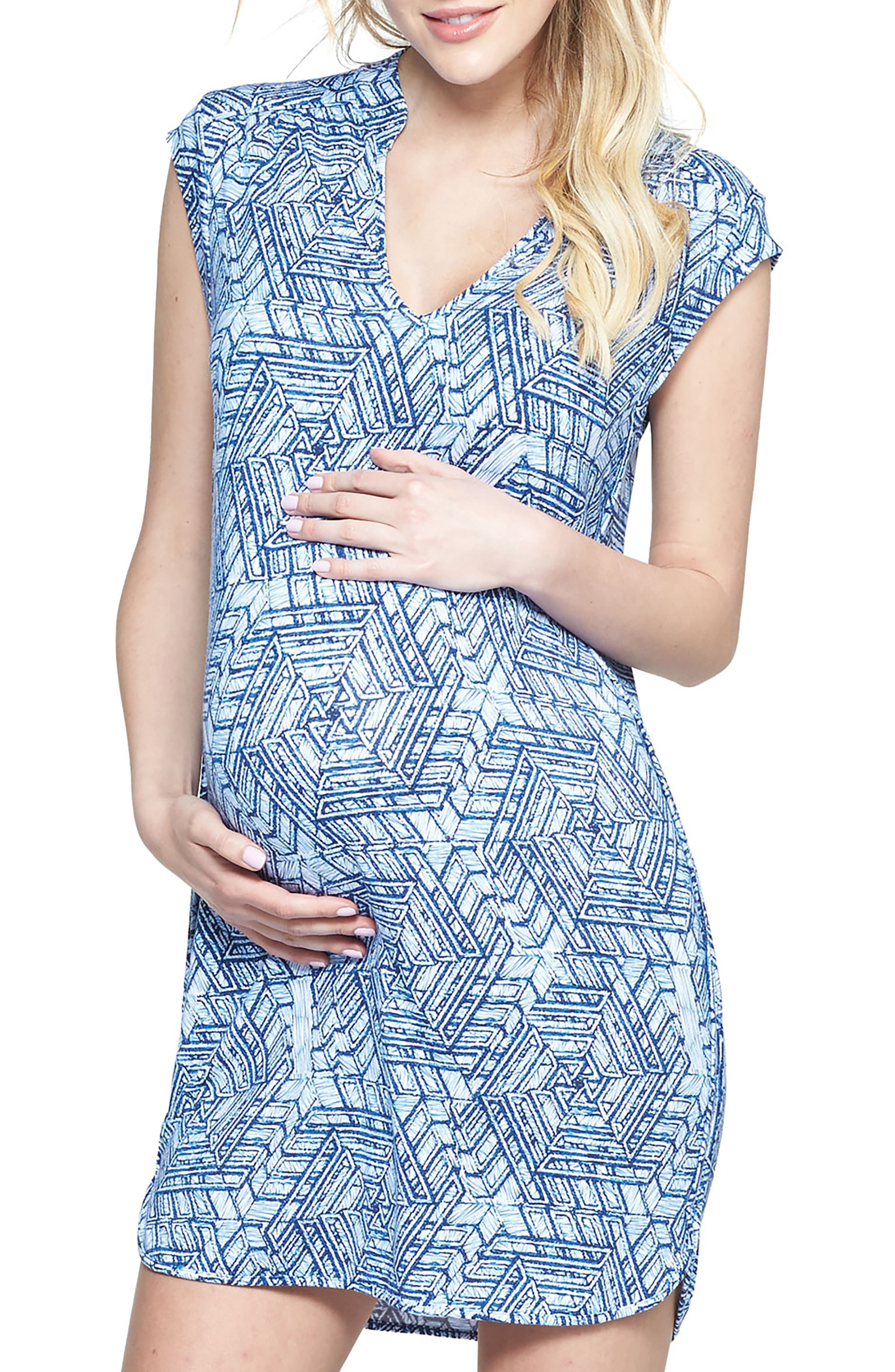 'Mellie' Embellished Neck Maternity Dress,                         Main,                         color, SCRIBBLE GEO