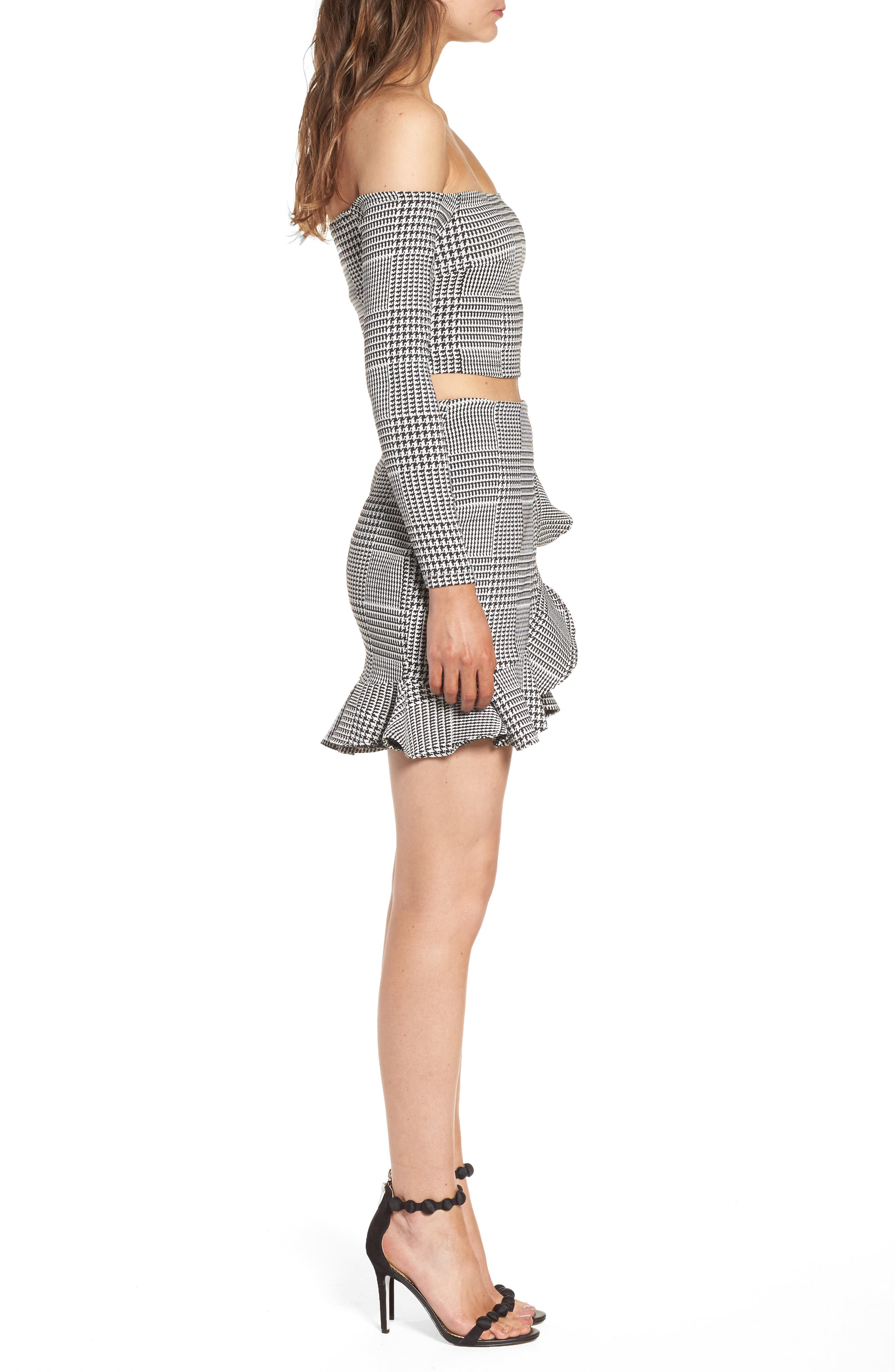 Affection Ruffle Houndstooth Skirt,                             Alternate thumbnail 9, color,                             020