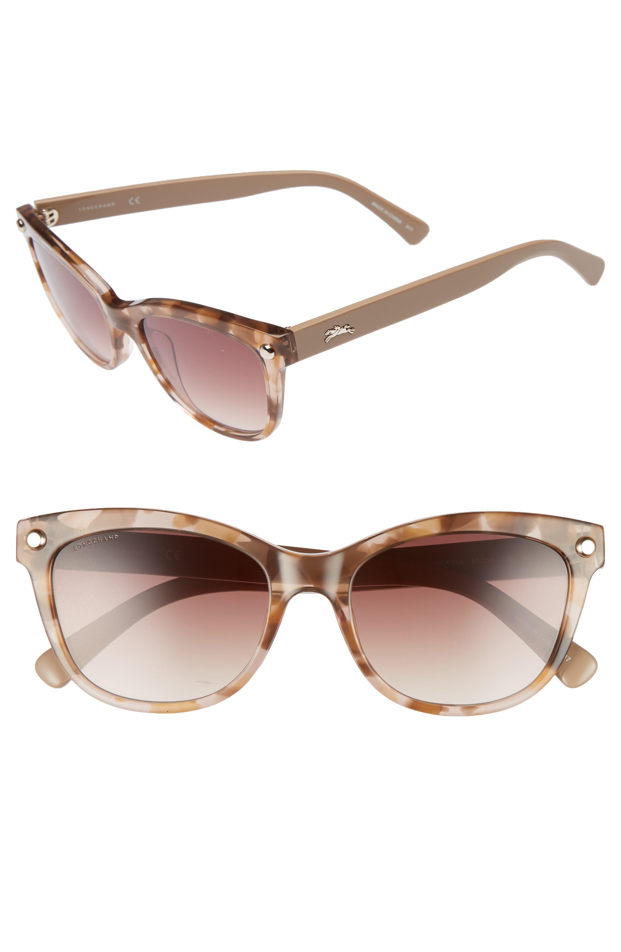 53mm Gradient Lens Cat Eye Sunglasses,                         Main,                         color, MARBLE BEIGE