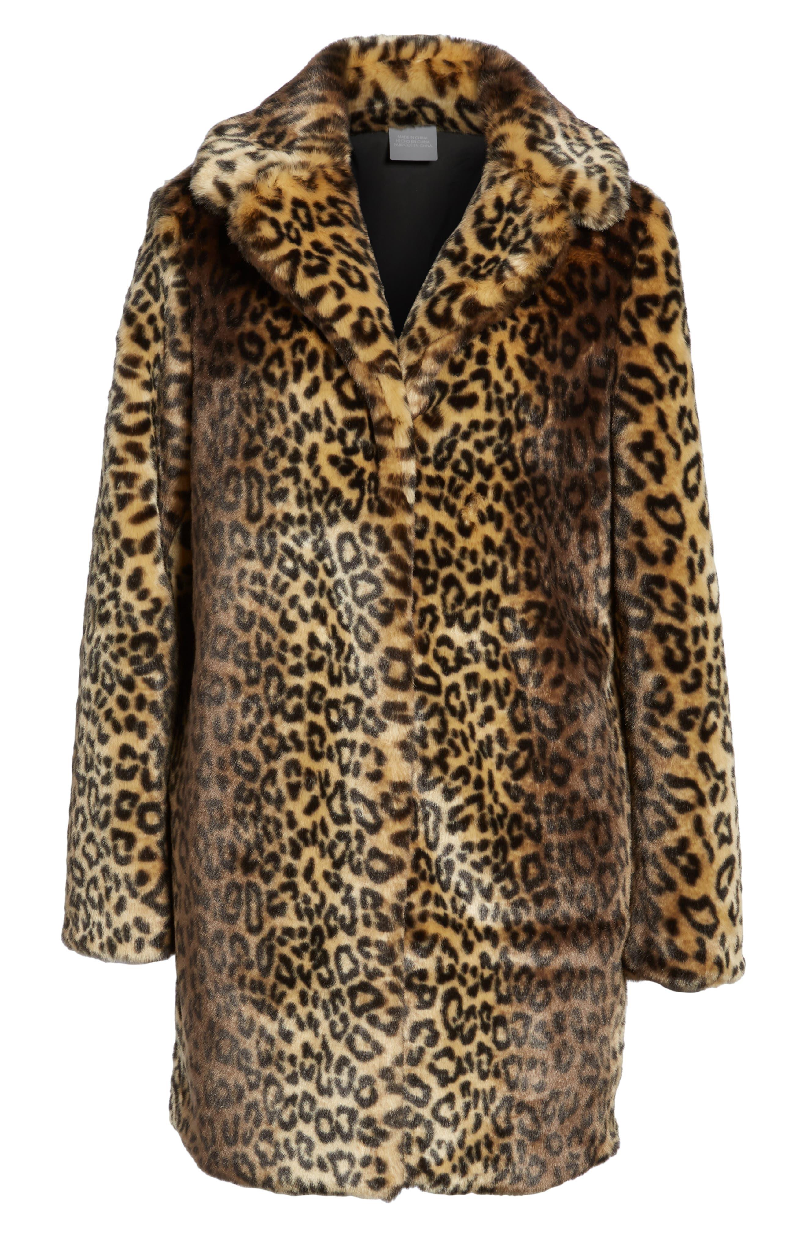 Reversible Cheetah Print Faux Fur Jacket,                             Alternate thumbnail 5, color,                             254
