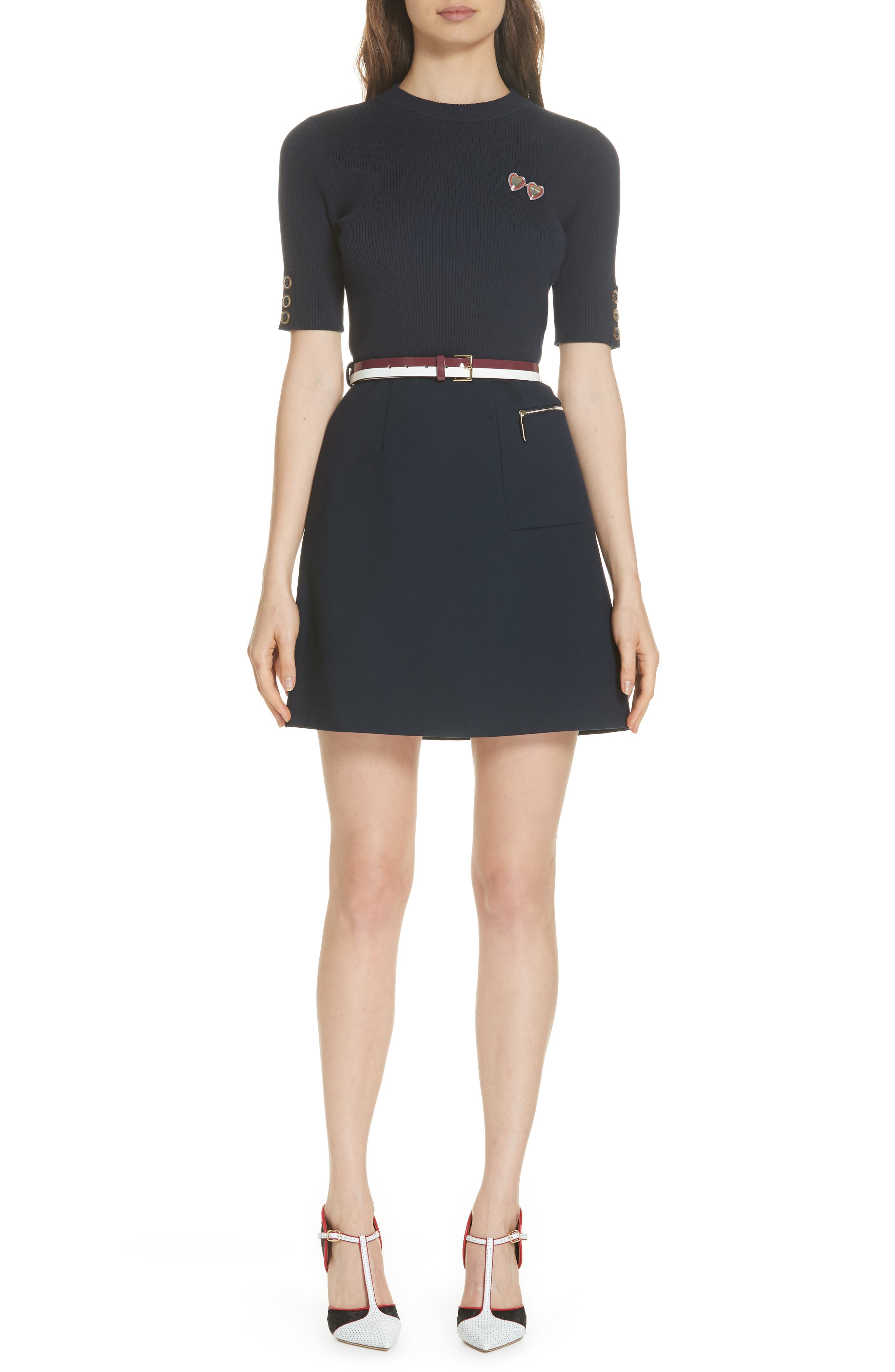 Colour by Numbers Elsbeth Mix Media Dress,                         Main,                         color, NAVY