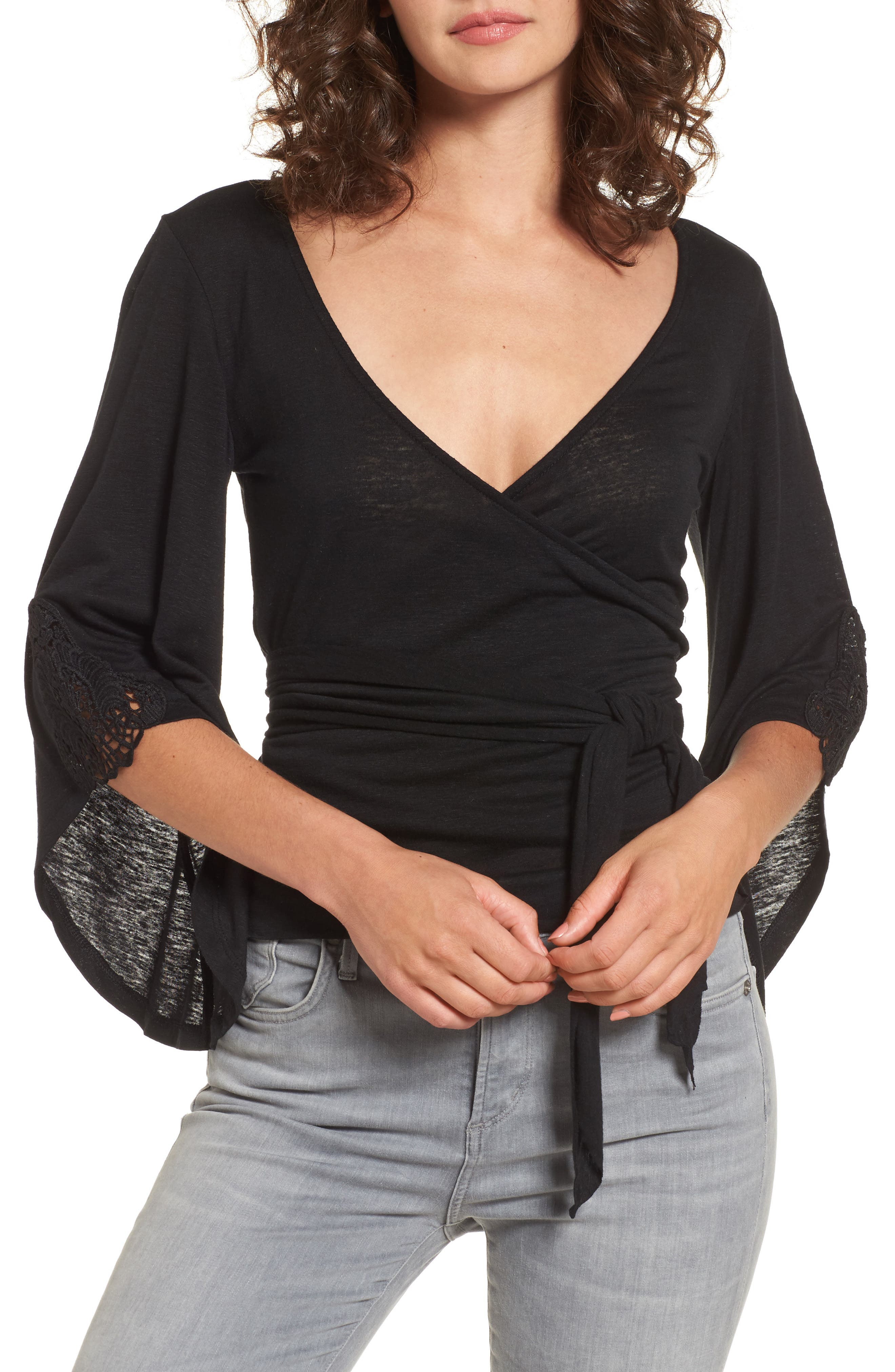 Bell Sleeve Wrap Top,                             Main thumbnail 1, color,                             001