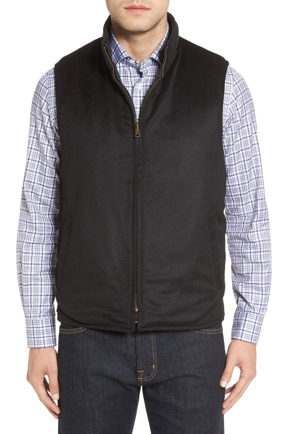 Puffy Leather & Wool Blend Reversible Vest,                             Alternate thumbnail 4, color,                             001