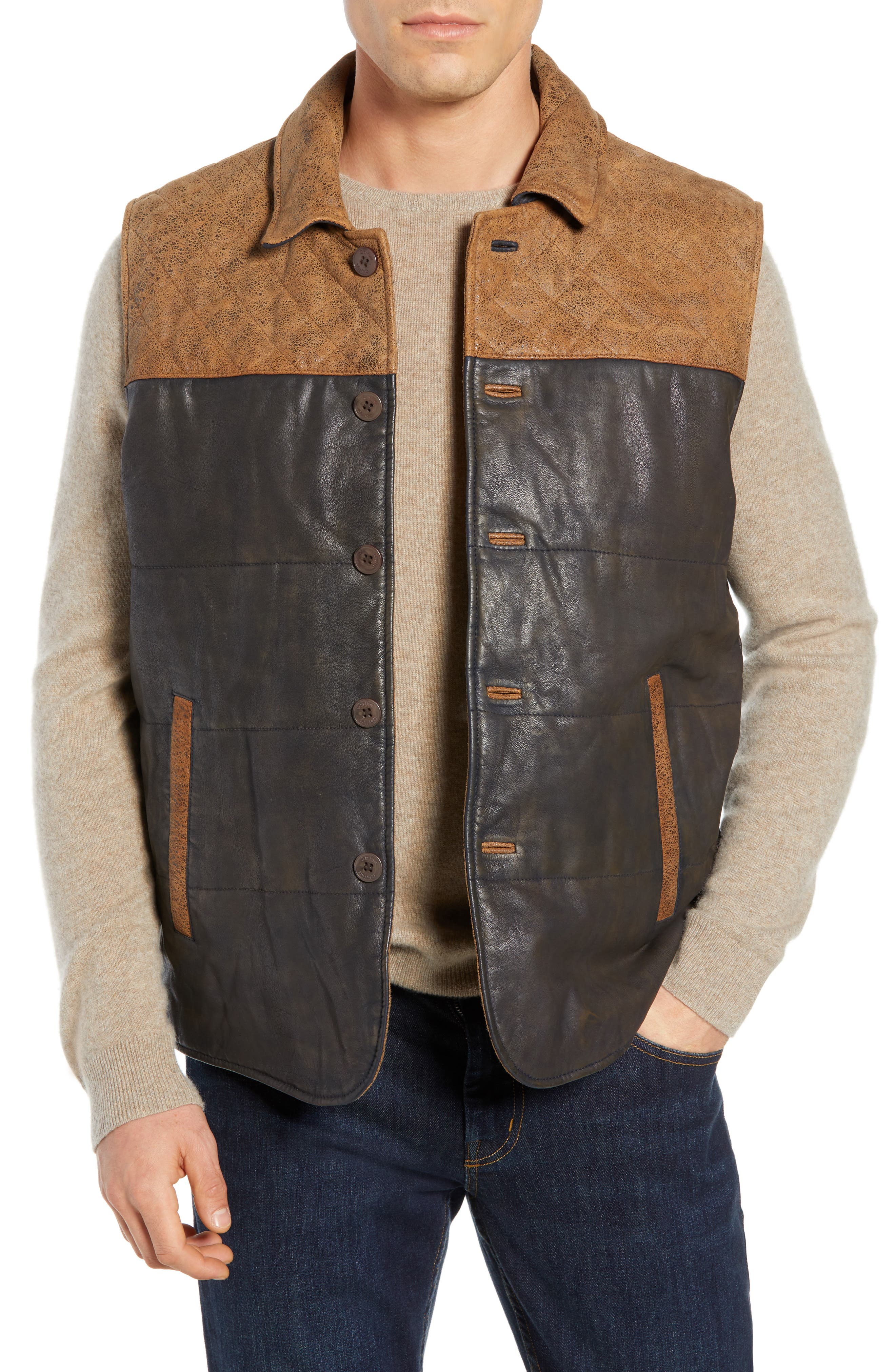 Colorblock Quilted Leather Vest,                         Main,                         color, TAN