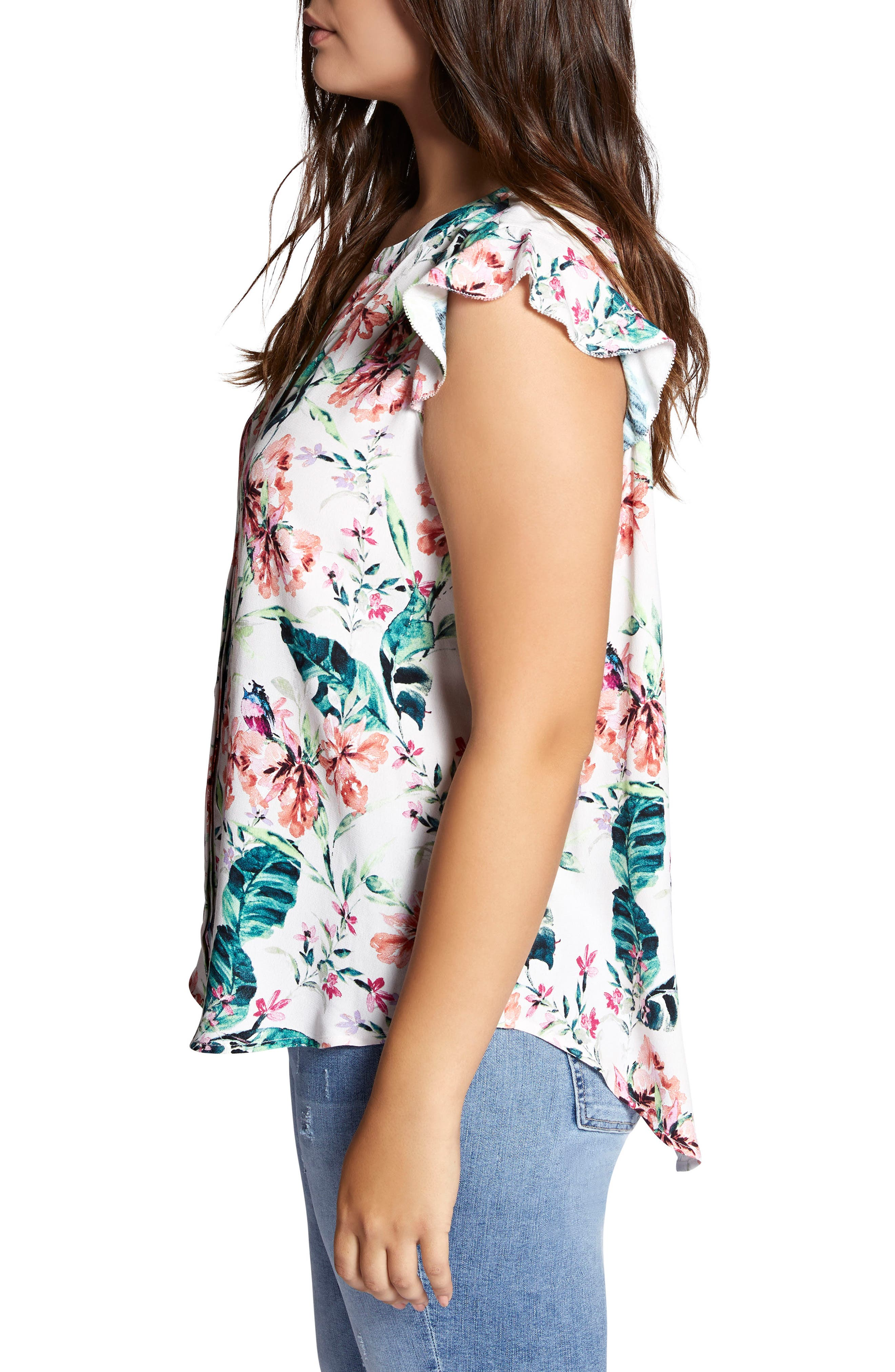 Floral Print Ruffle Top,                             Alternate thumbnail 3, color,                             106