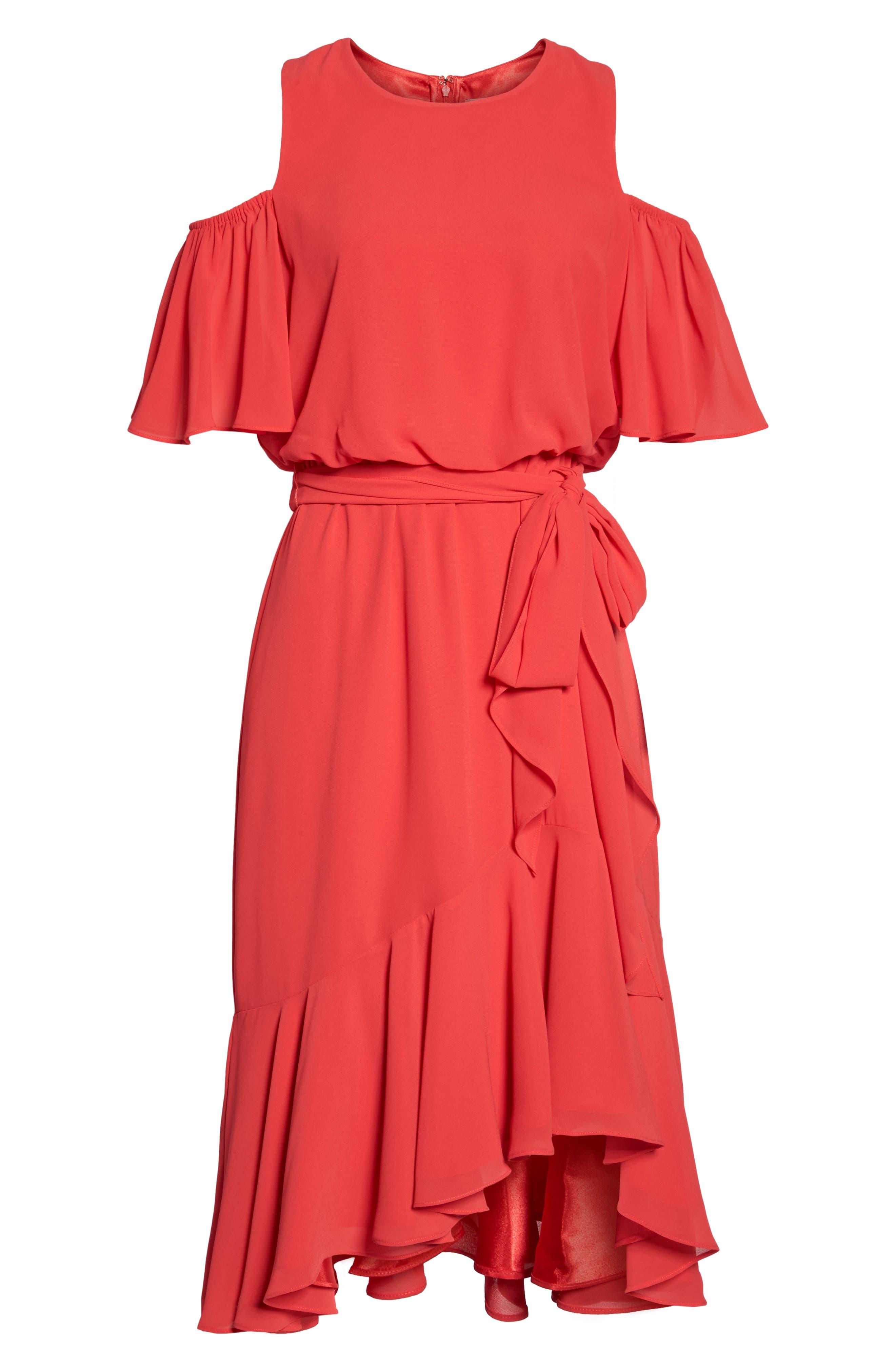 Cold Shoulder Dress,                             Alternate thumbnail 6, color,                             652