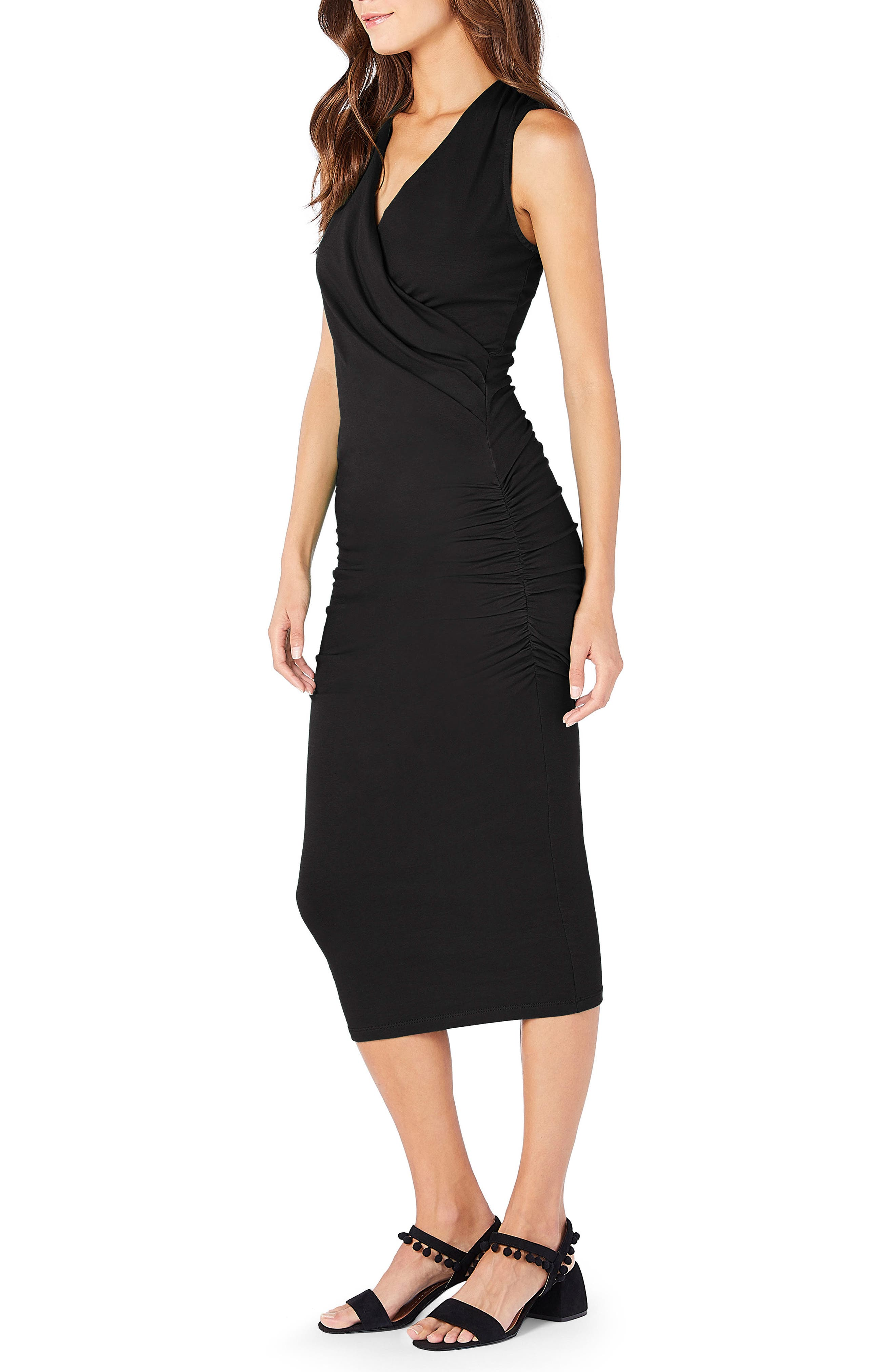 MICHAEL STARS,                             Faux Wrap Midi Dress,                             Alternate thumbnail 3, color,                             BLACK