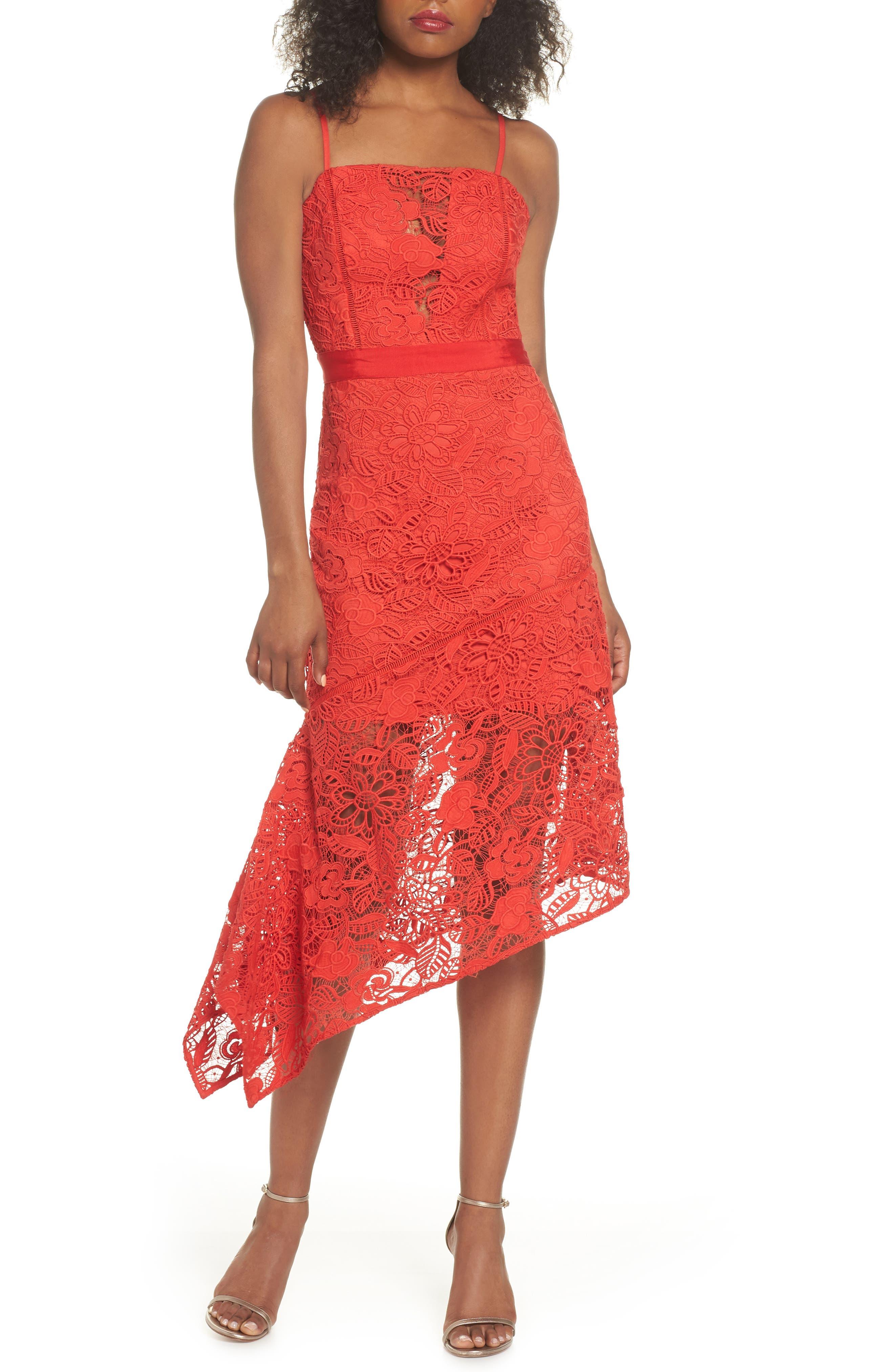 Asymmetrical Hem Lace Dress,                         Main,                         color, 600