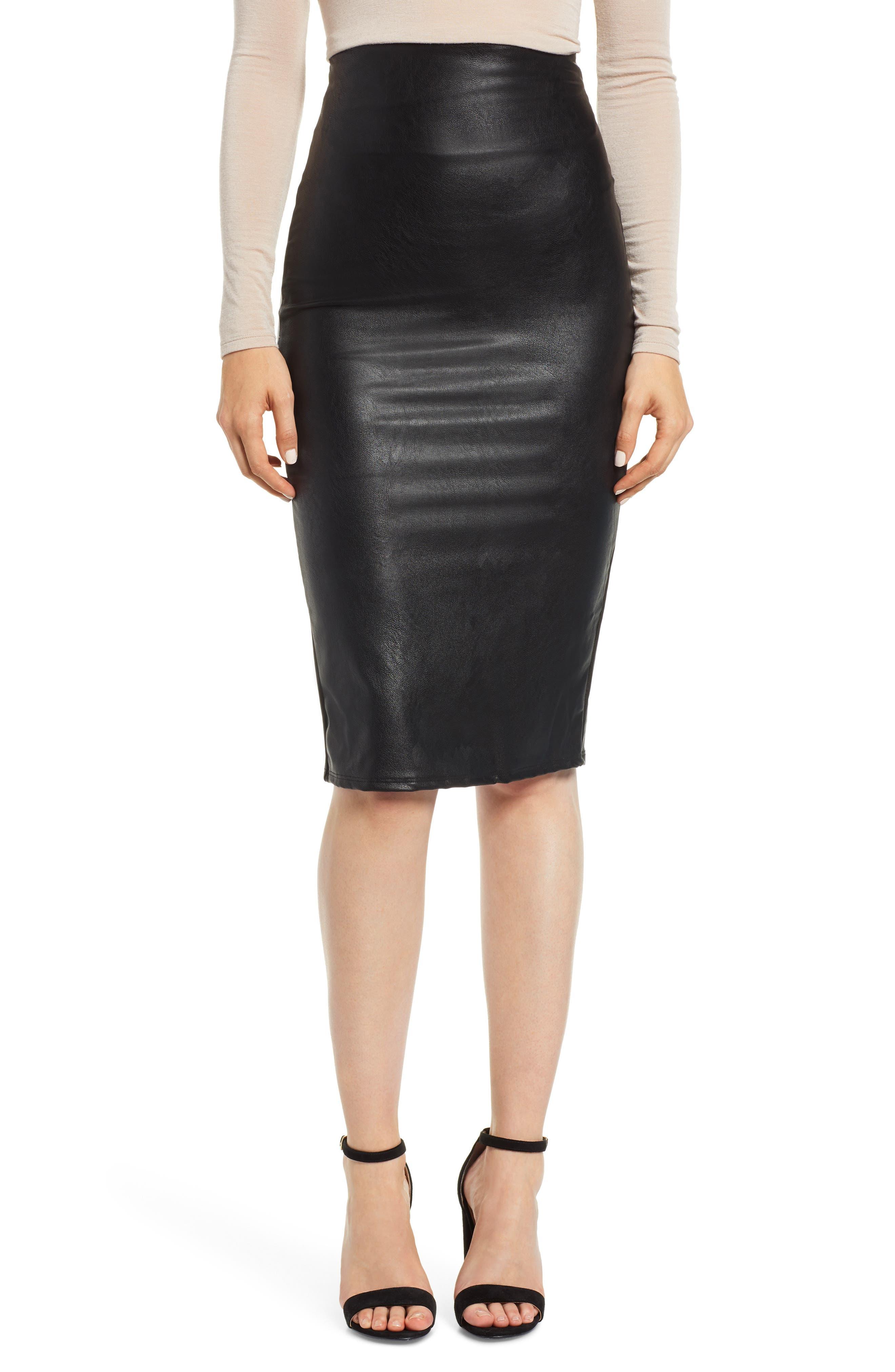 Faux Leather Midi Skirt,                             Main thumbnail 1, color,                             BLACK