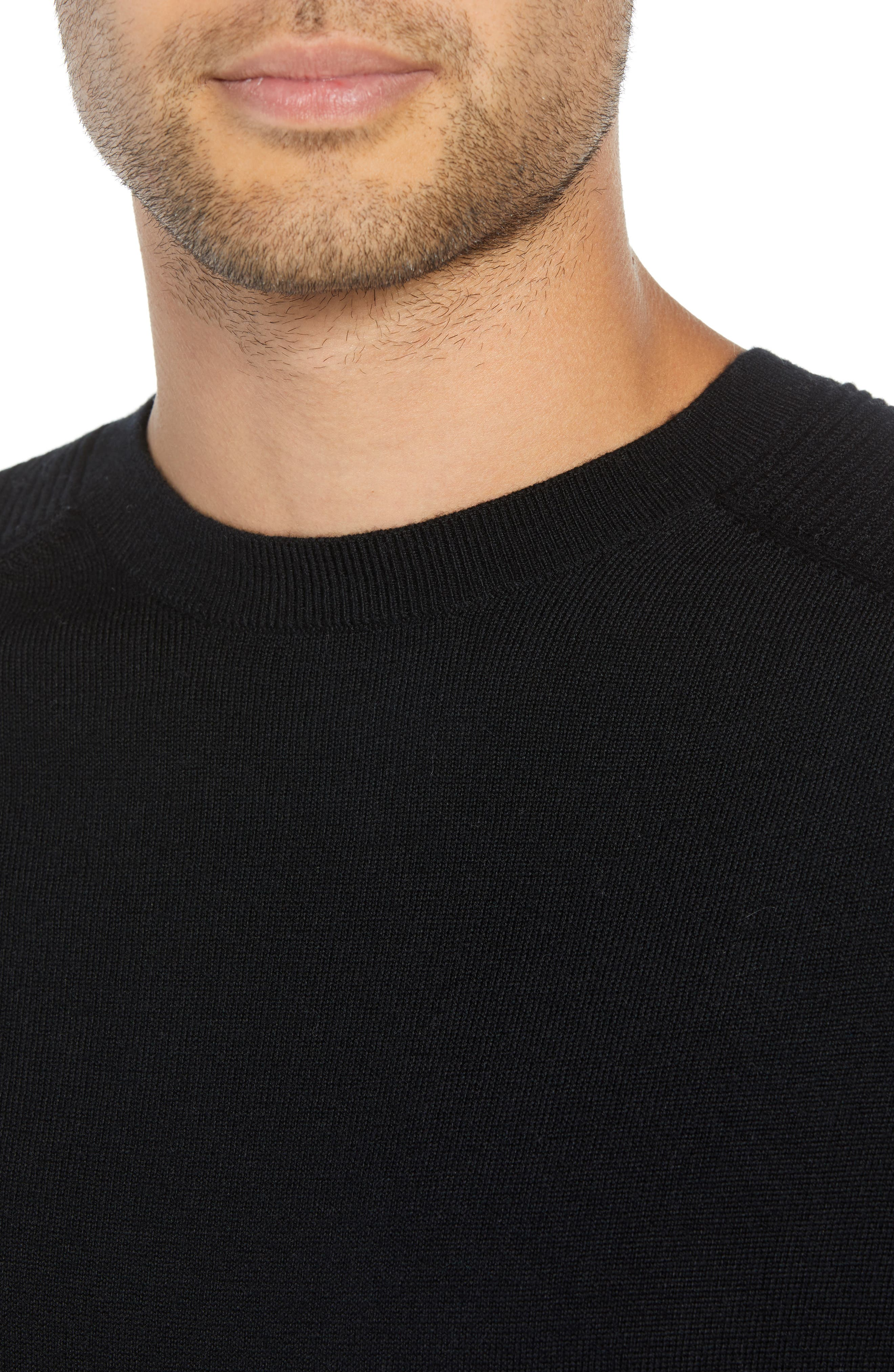 Regular Fit Ottoman Stitch Wool Sweater,                             Alternate thumbnail 4, color,                             BLACK