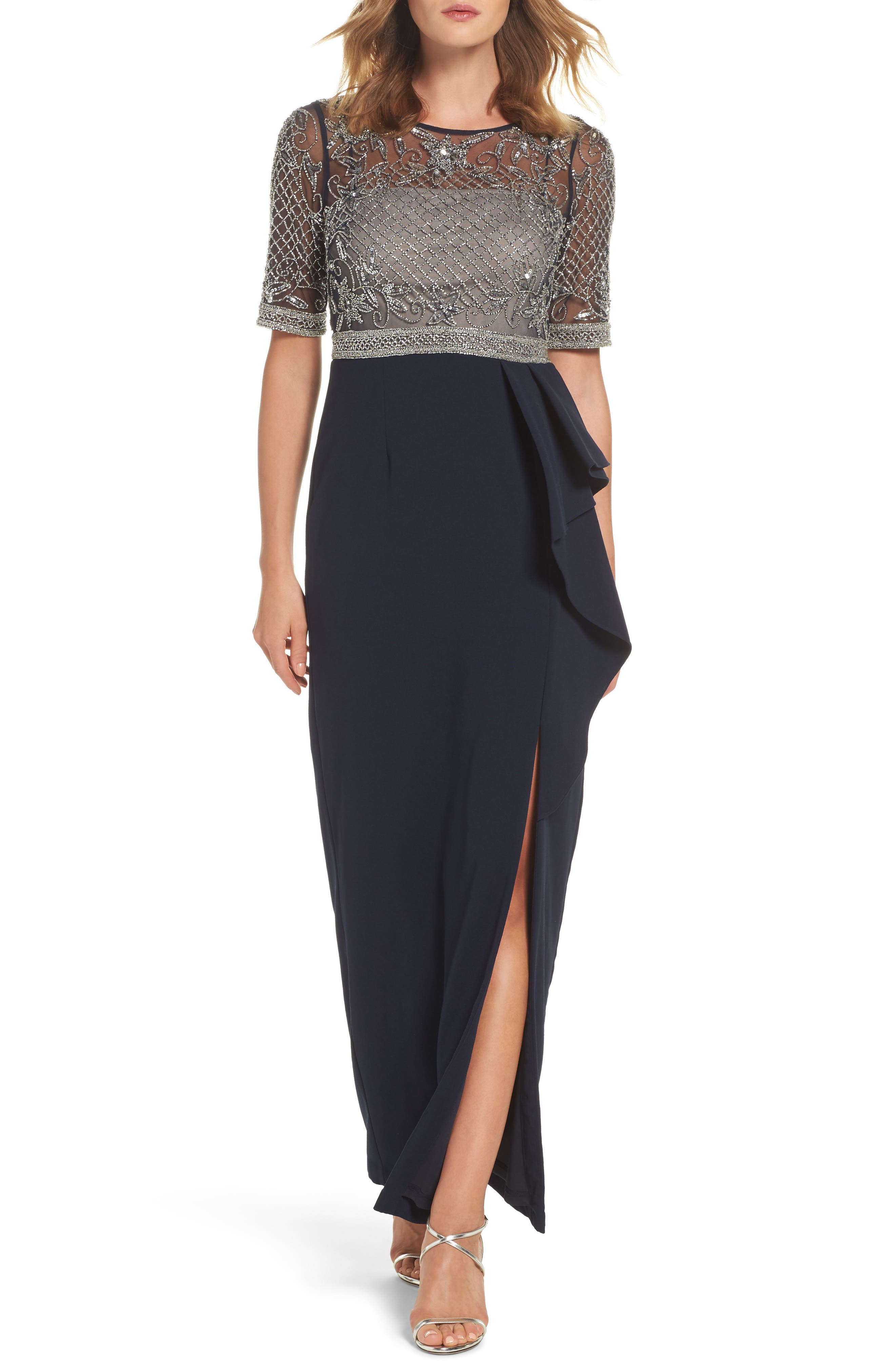 ADRIANNA PAPELL Beaded Gown, Main, color, 412