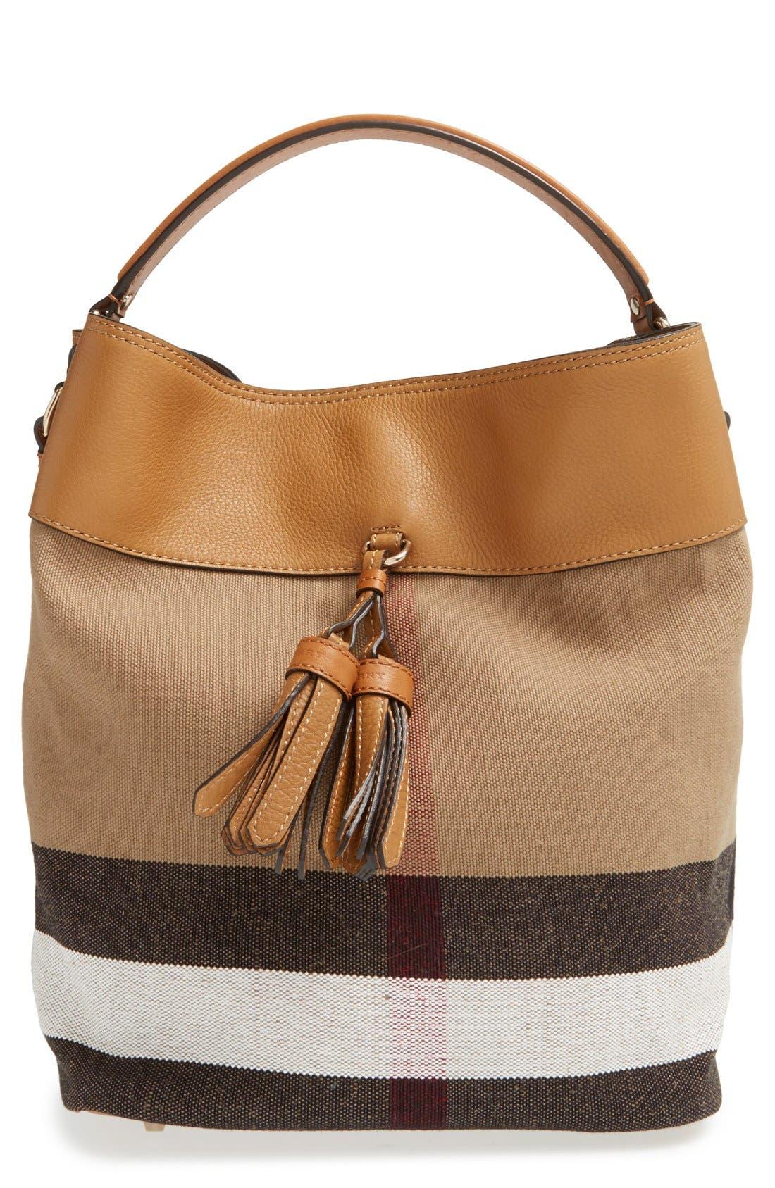 BURBERRY,                             Medium Ashby Bucket Bag,                             Main thumbnail 1, color,                             200