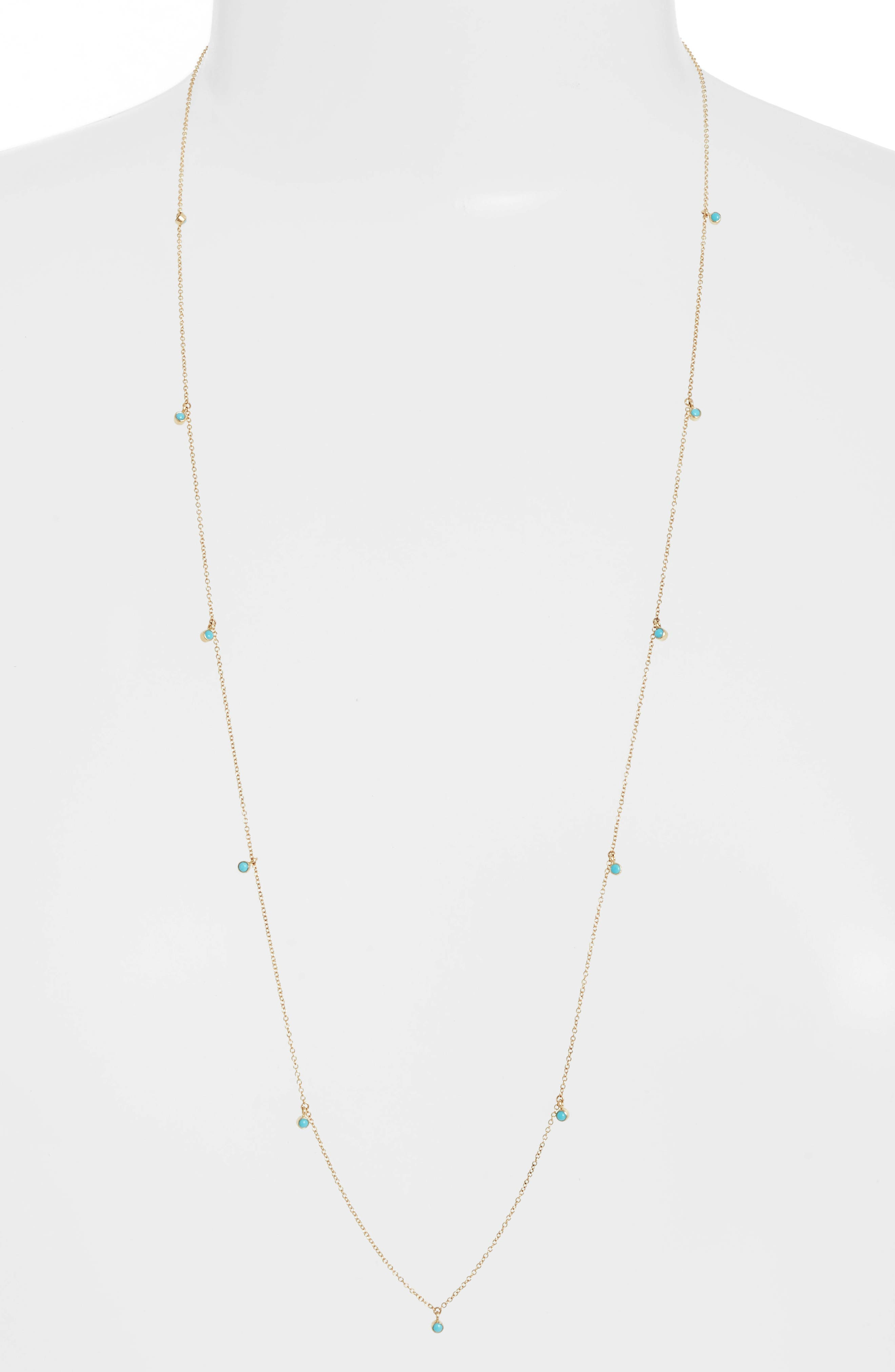Dangling Turquoise Station Long Necklace,                         Main,                         color, YELLOW GOLD