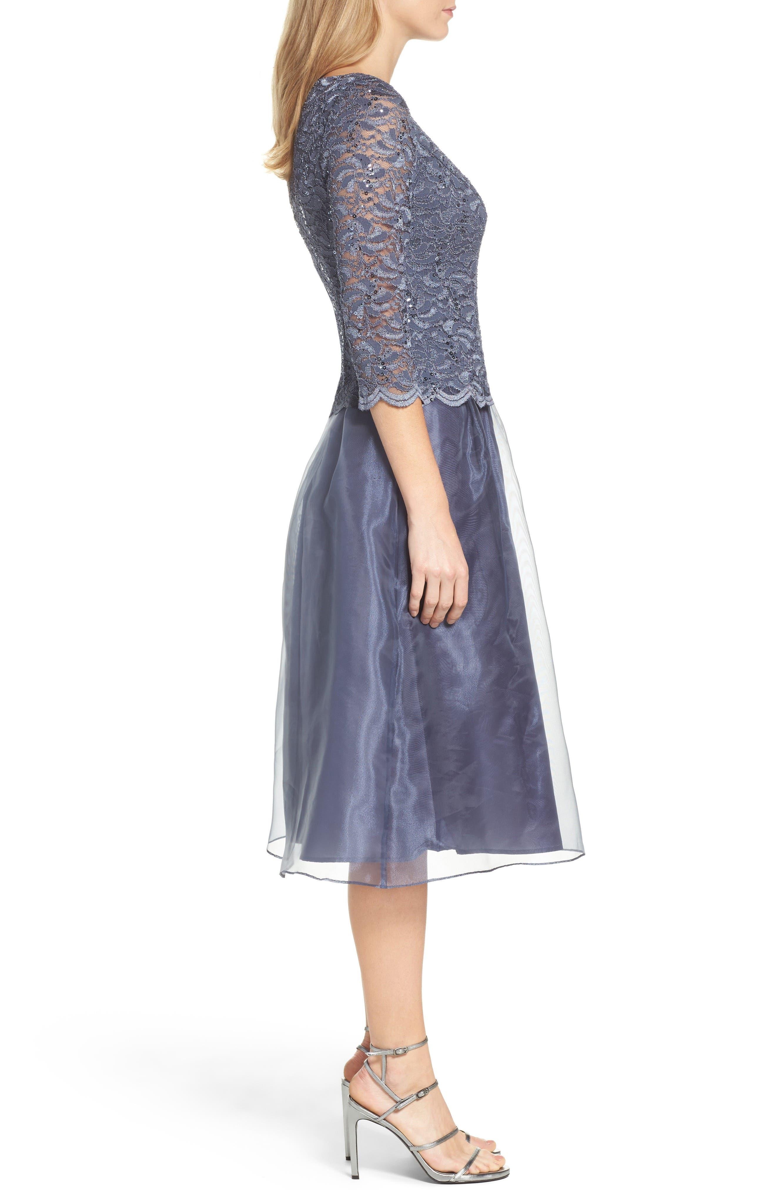 Mixed Media Fit & Flare Dress,                             Alternate thumbnail 6, color,