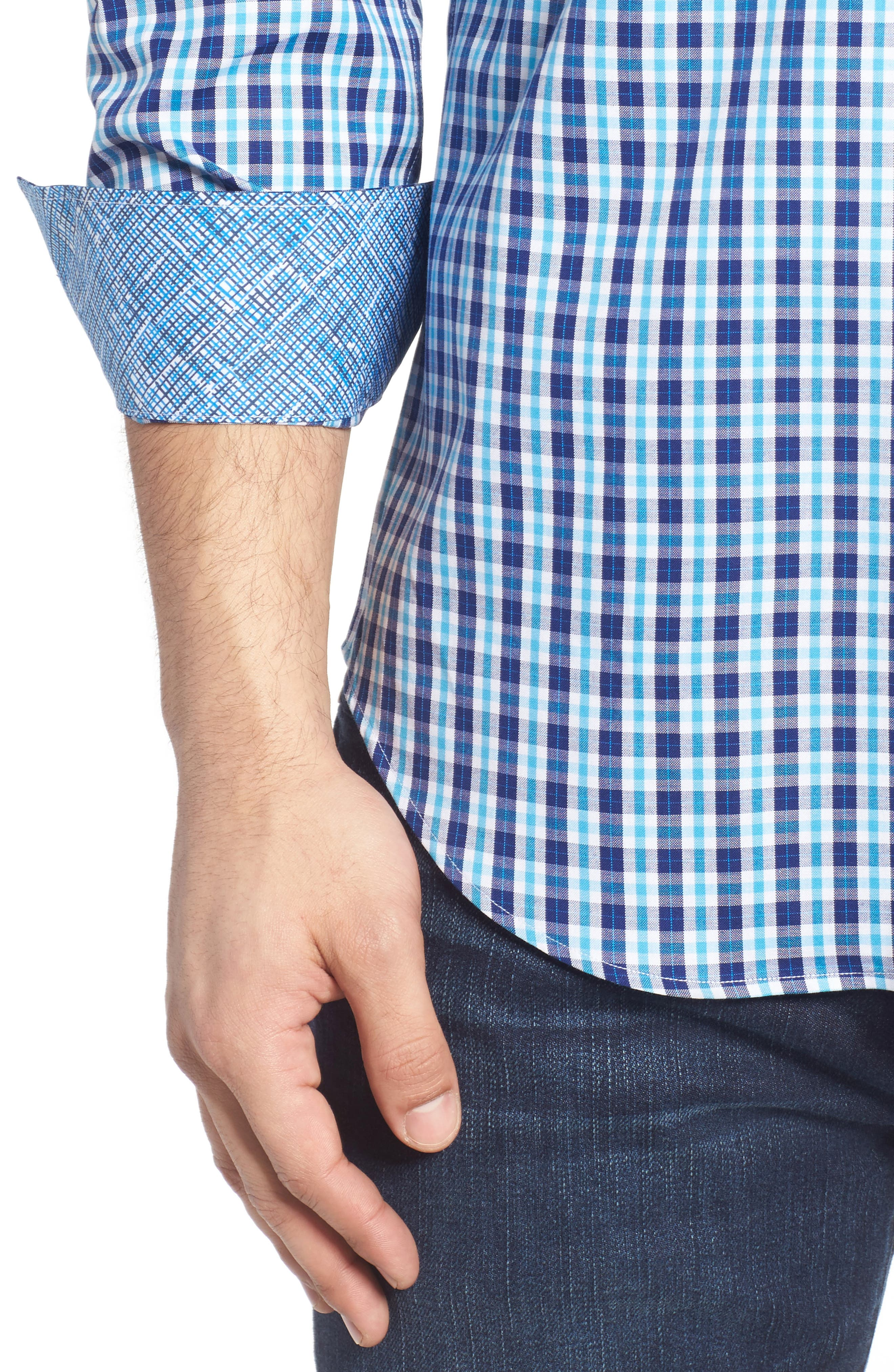 Shaped Fit Plaid Sport Shirt,                             Alternate thumbnail 4, color,                             422