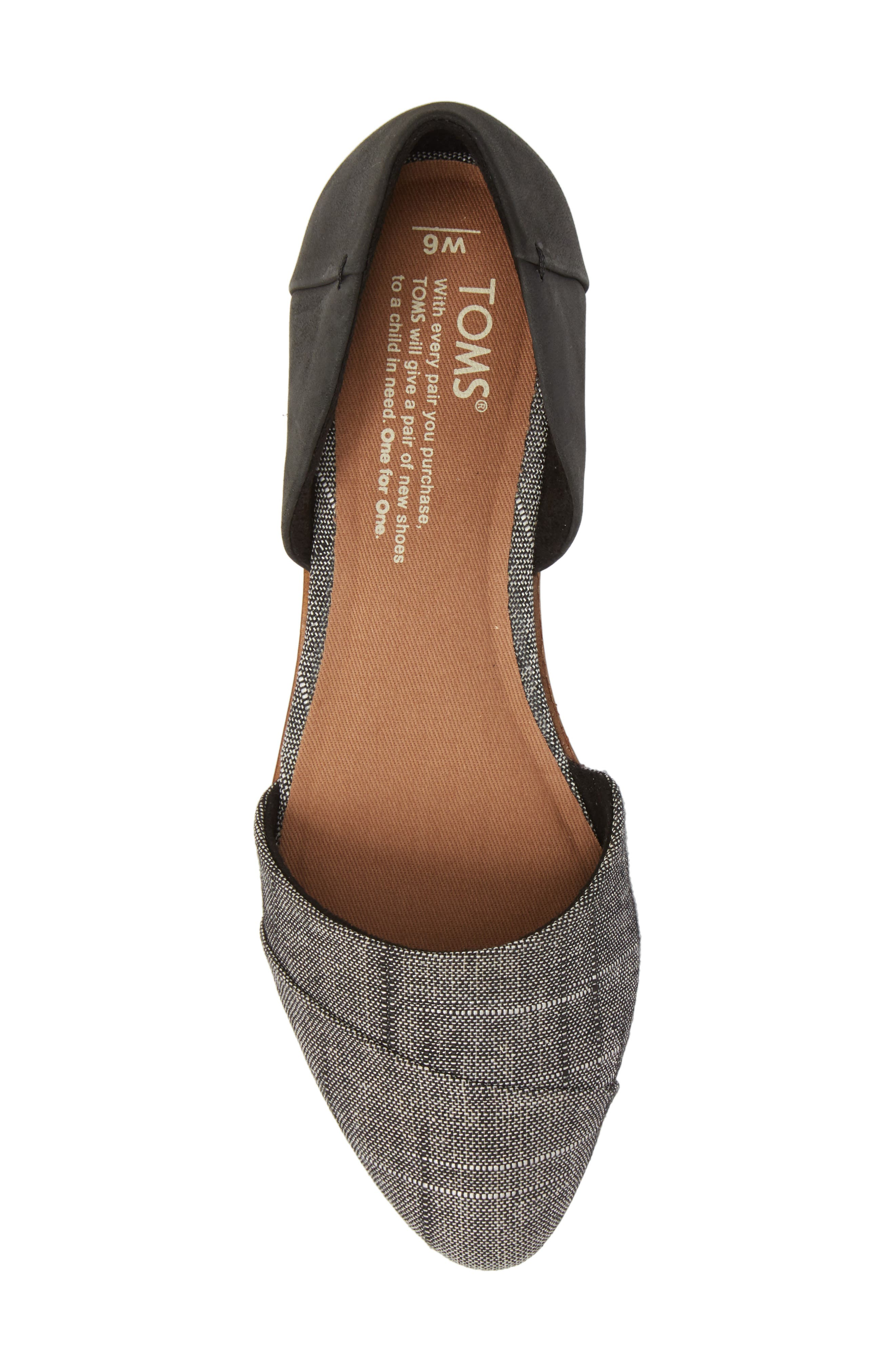 Jutti d'Orsay Flat,                             Alternate thumbnail 5, color,                             BLACK LEATHER/ CHAMBRAY